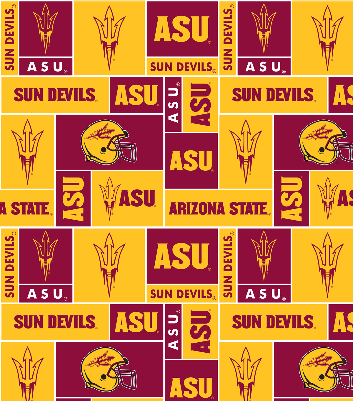 Arizona State University Sun Devils Fleece Fabric 58\u0022-Block