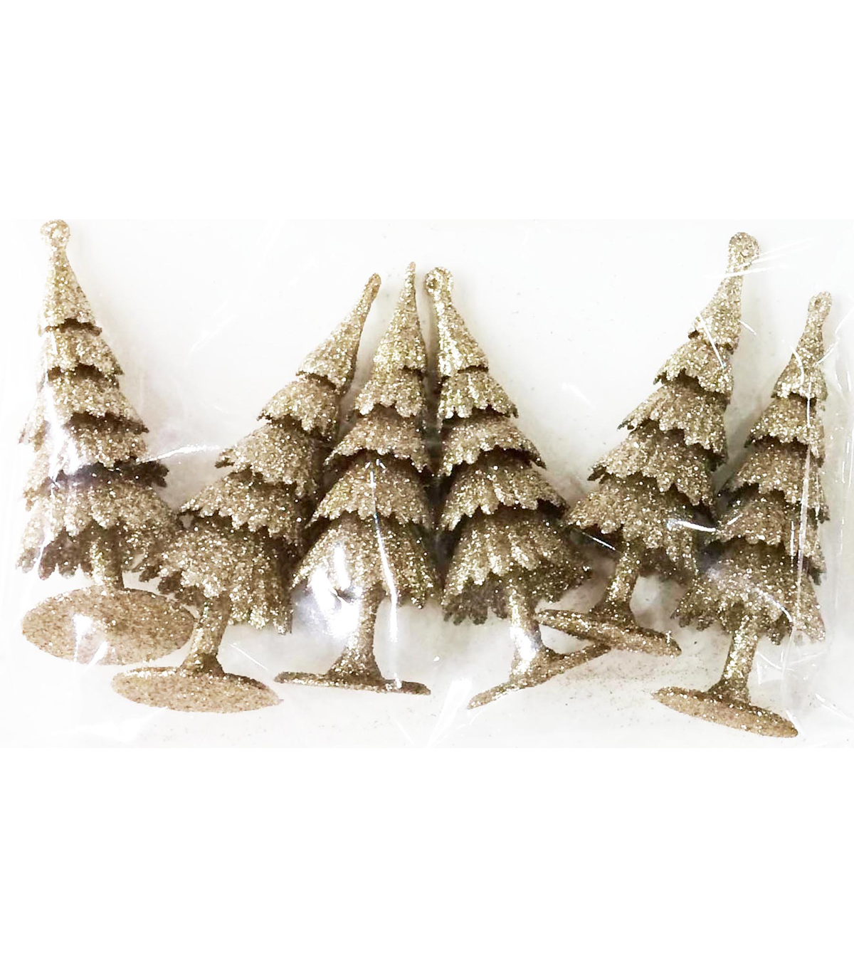 Maker\u0027s Holiday Christmas Littles 6 pk Plastic Trees-Champagne