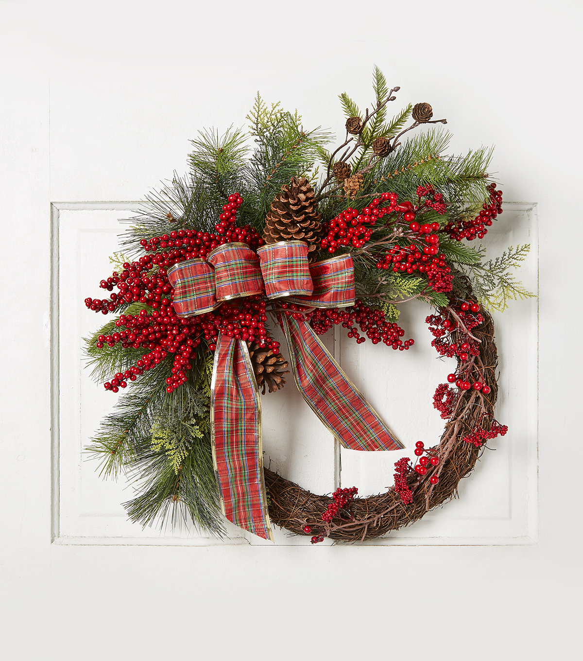 Blooming Holiday 24\u0027\u0027 Wrapped Berry & Grapevine Wreath