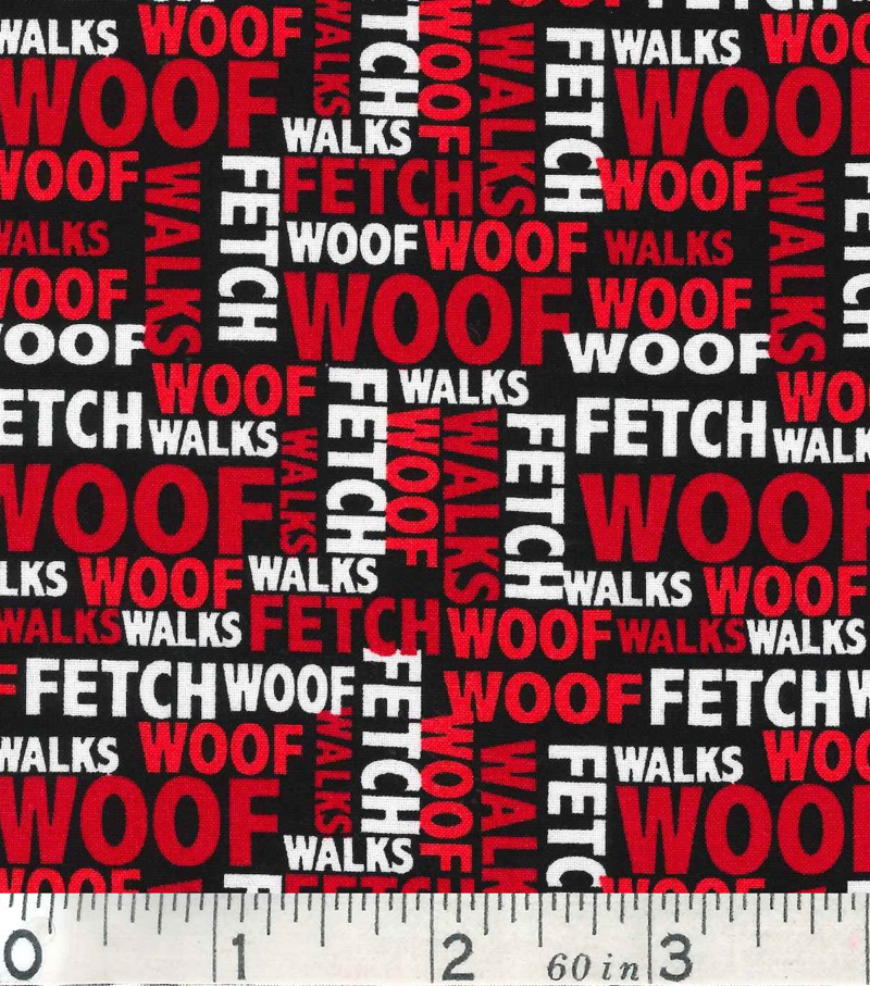 Novelty Cotton Fabric 43\u0022-Dog Words On Black