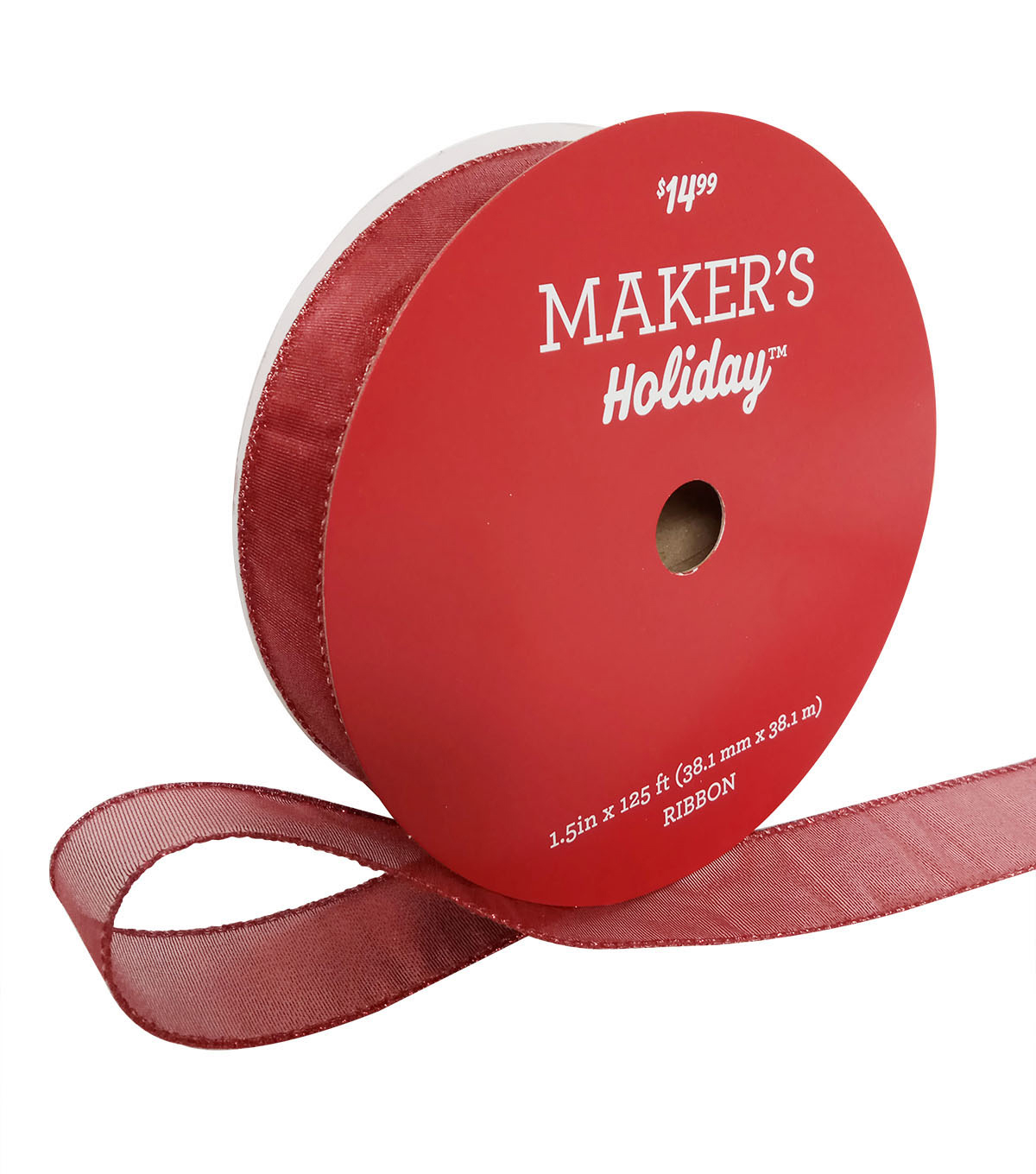 Maker\u0027s Holiday Christmas Value Ribbon 1.5\u0027\u0027x125\u0027-Red Solid