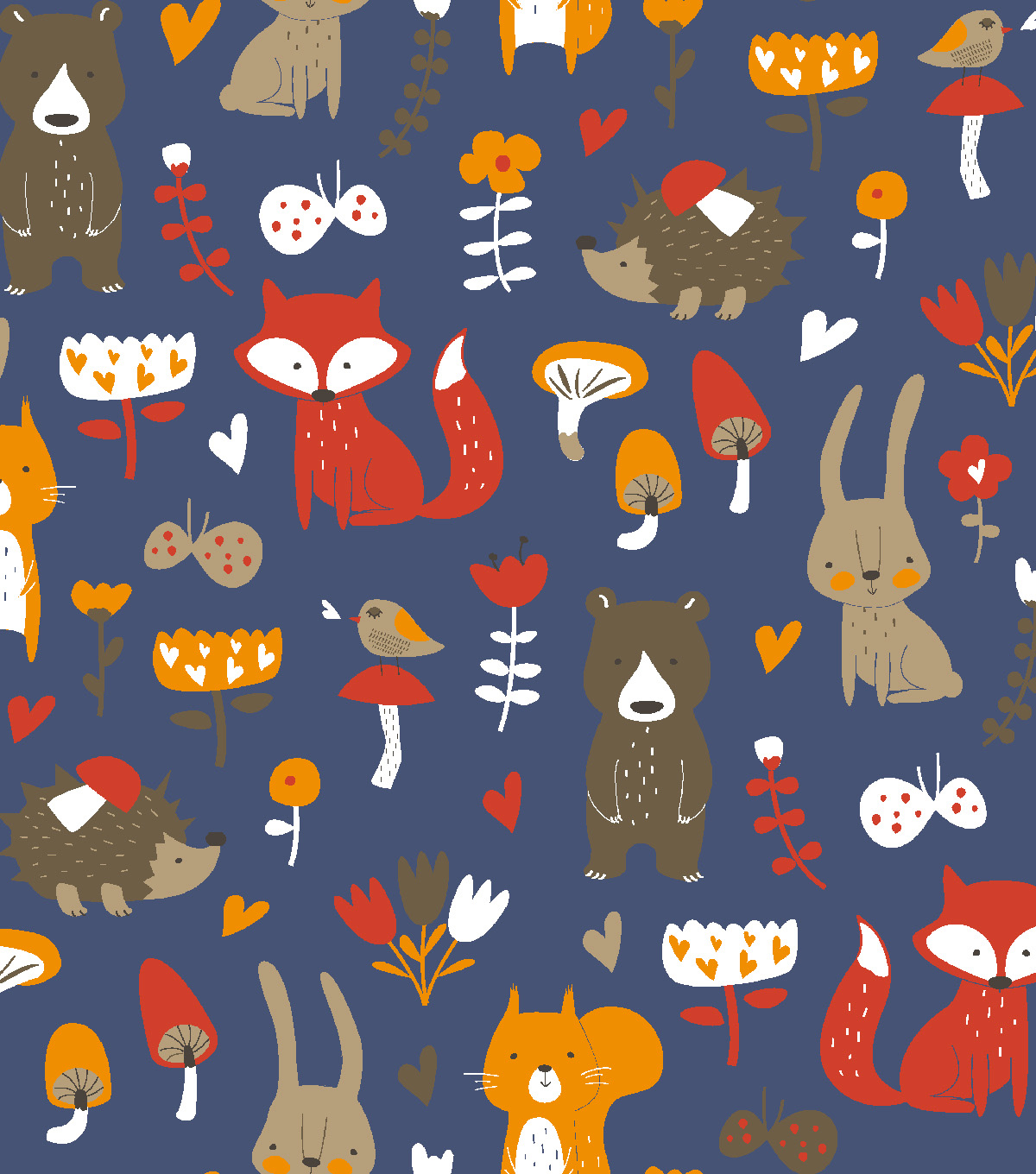 Snuggle Flannel Fabric 42\u0022-Whimsical Woodland