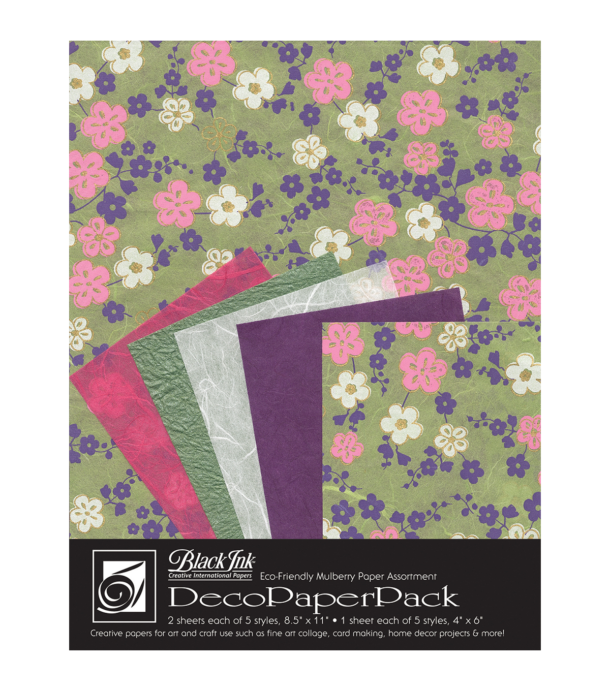 Black Ink Sakura Deco Paper Pack