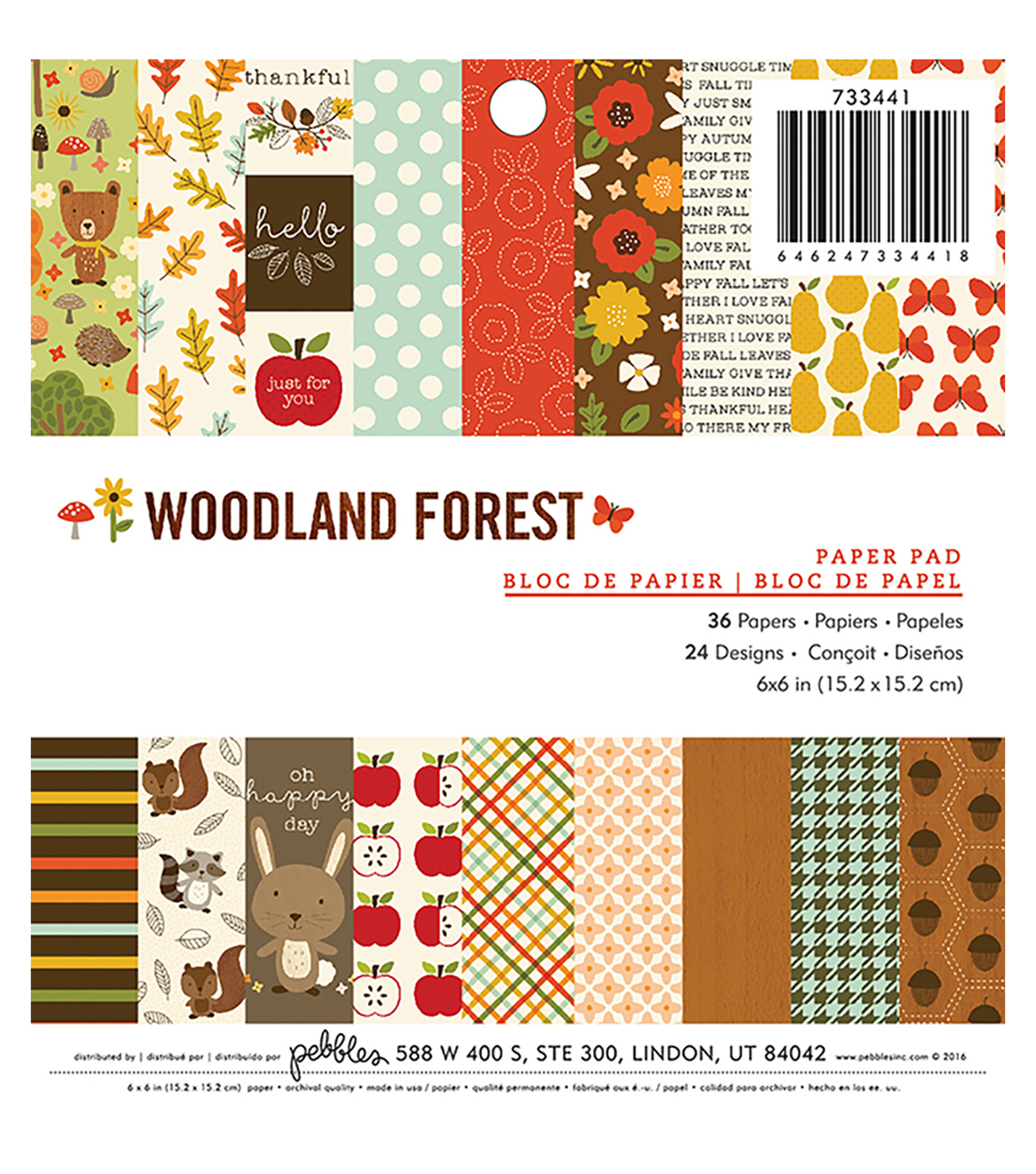 Pebbles Woodland Forest Pack of 36 6\u0027\u0027x6\u0027\u0027 Paper Pad