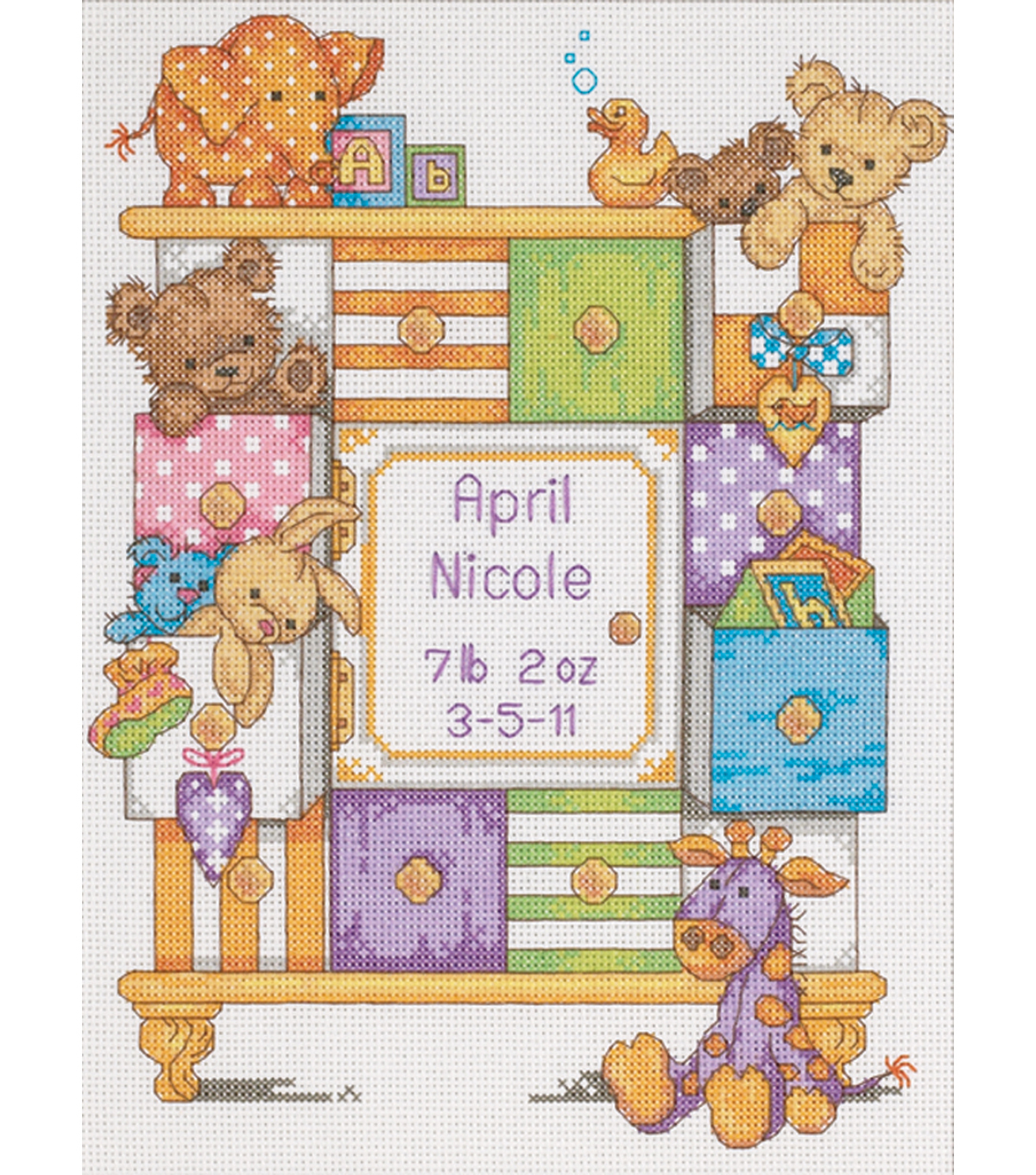 Dimensions Baby Hugs Baby Drawers Birth Record Counted Cross Stitch Kit