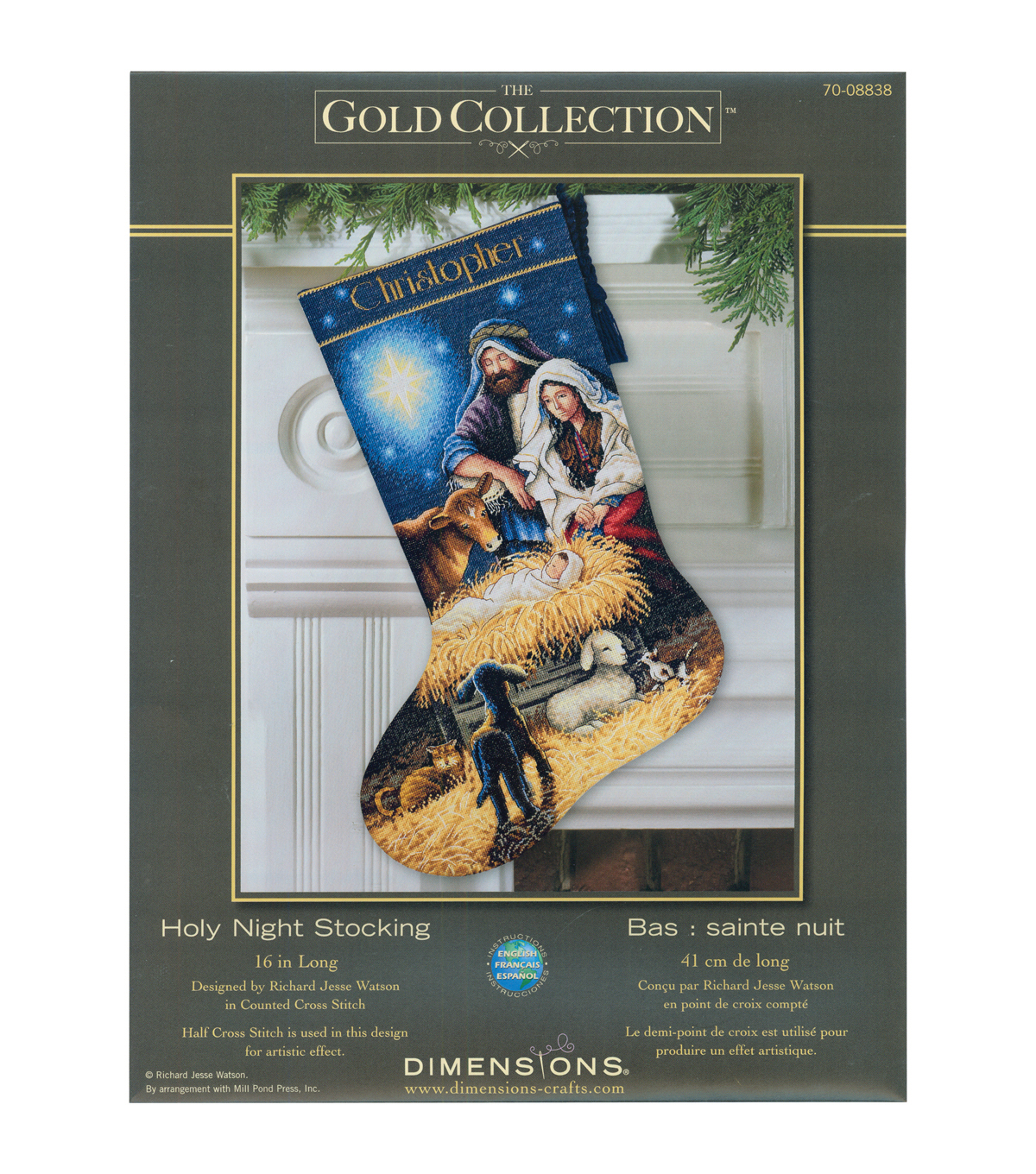 Gold Collection Holy Night Stocking Counted Cross Stitch Kit-16\u0022 Long 18 Count