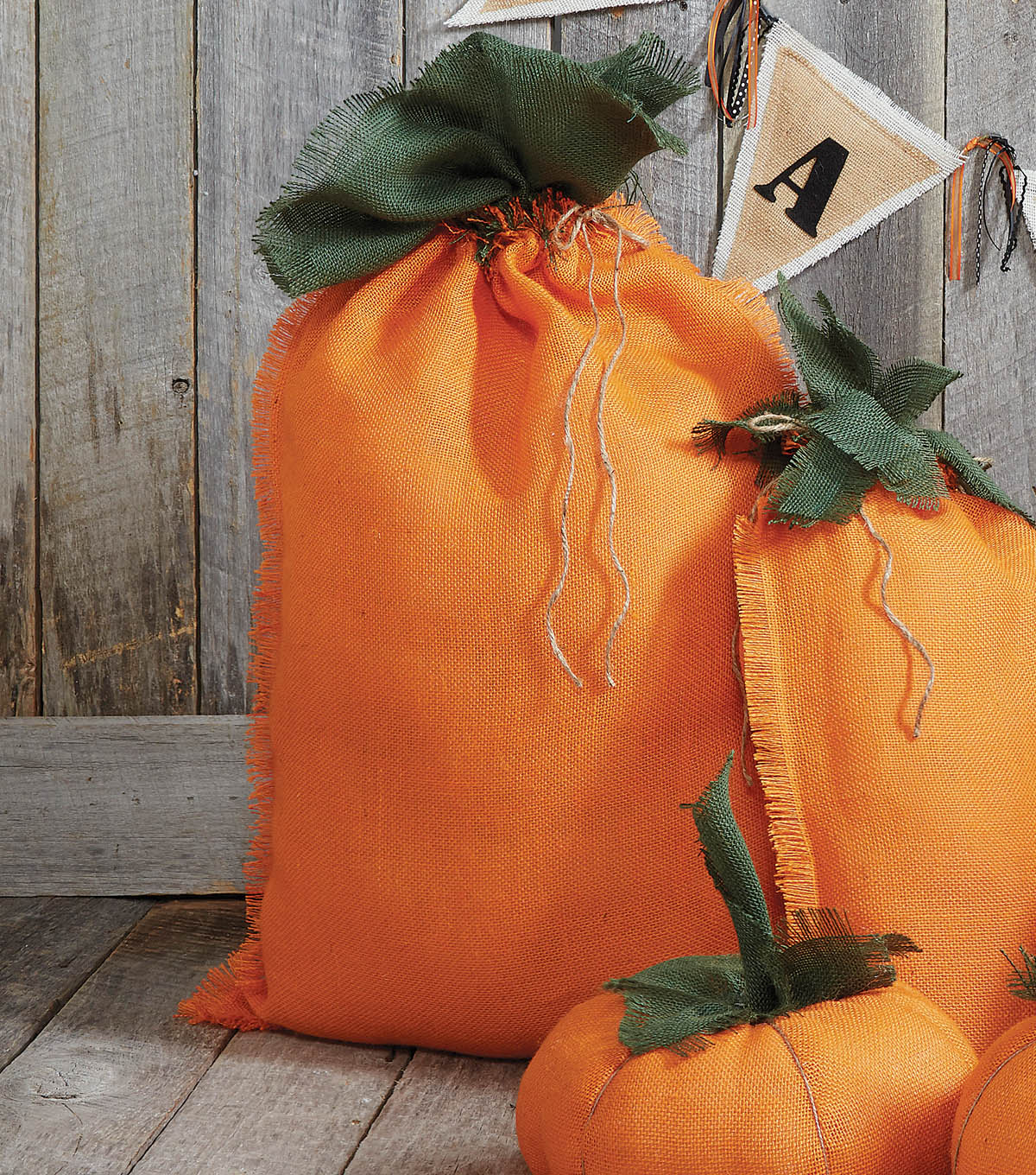 Fall Burlap Pumpkin Sacks