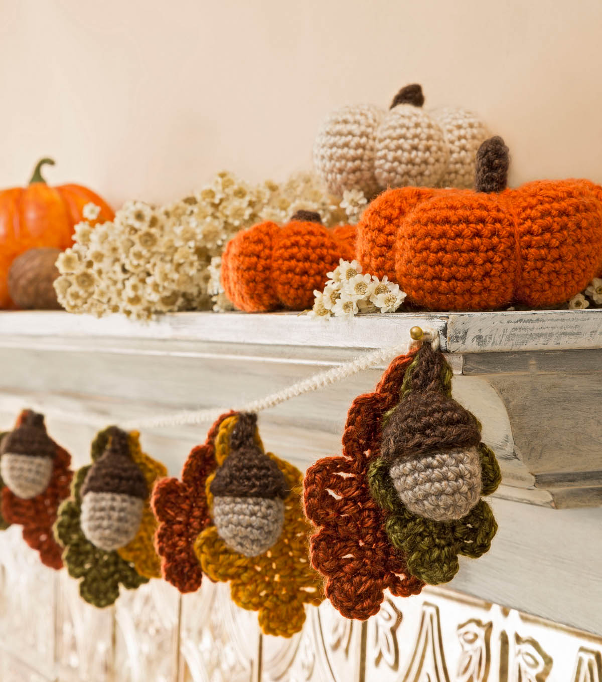 Acorn and Leaf Garland and Mini Crocheted Pumpkins