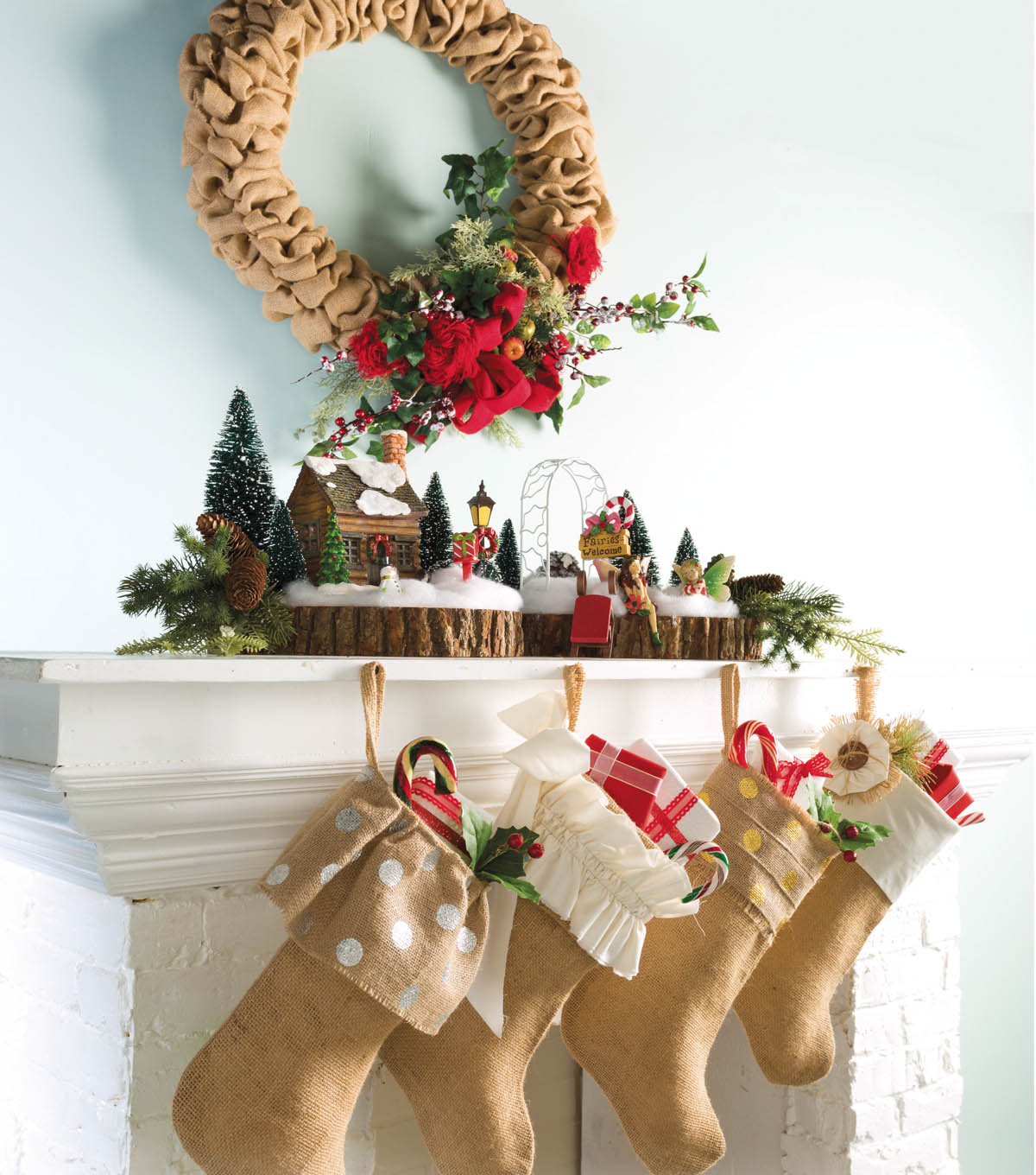 Burlap Wreath and Stockings