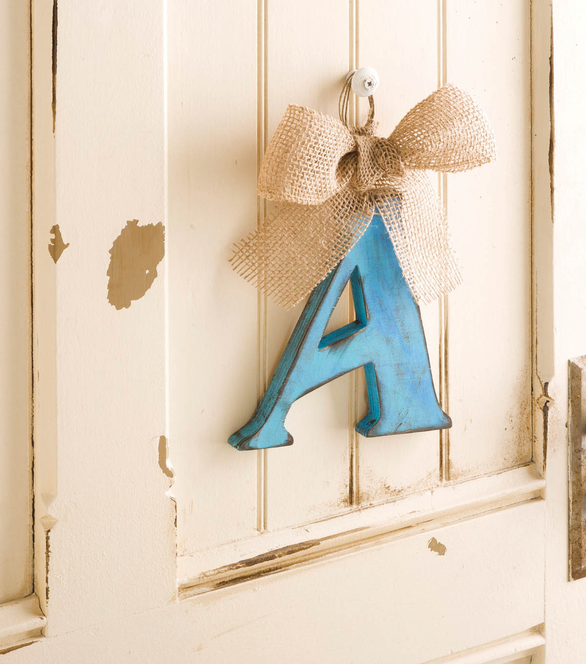 Distressed Wood Letter Monogram Door Hanger
