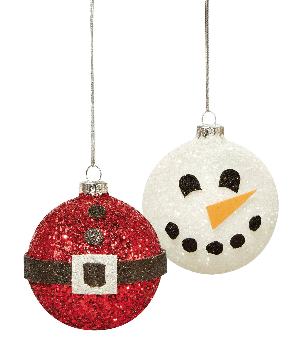 Glittered Snowman and Santa Belt Ornament
