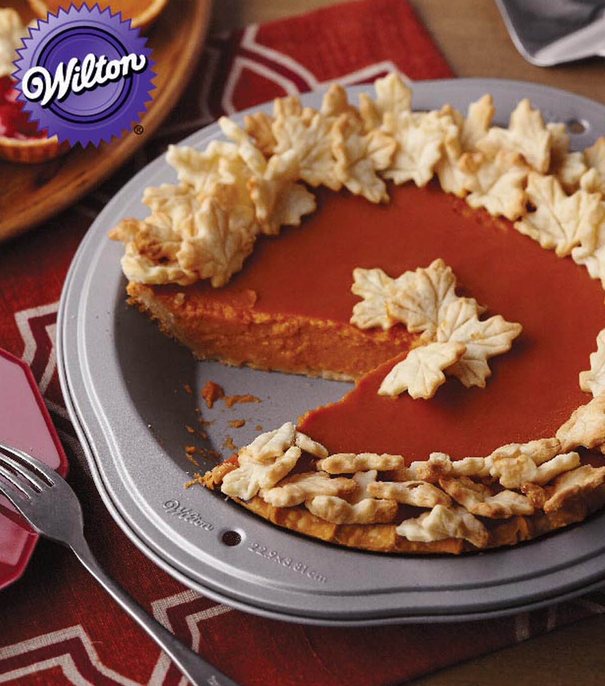 Pumpkin Pie with Fall Leaves Pastry Cutouts
