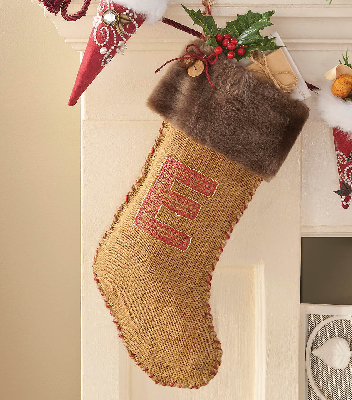 Burlap & Fur Monogrammed Stocking