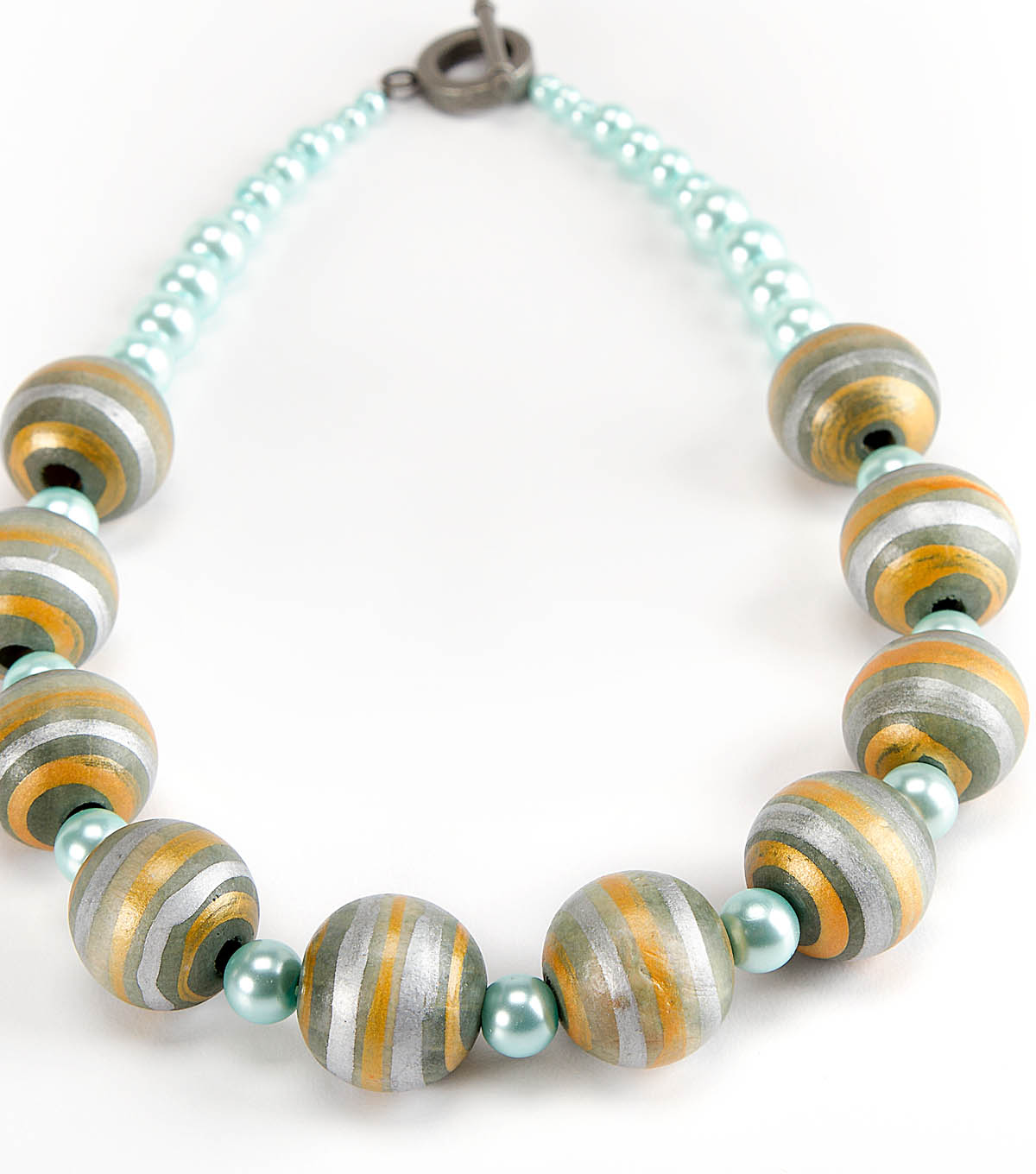 Pearl and Wood Bead Necklace