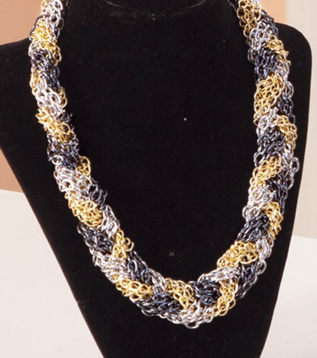 Mixed Metal Braided Chain Necklace