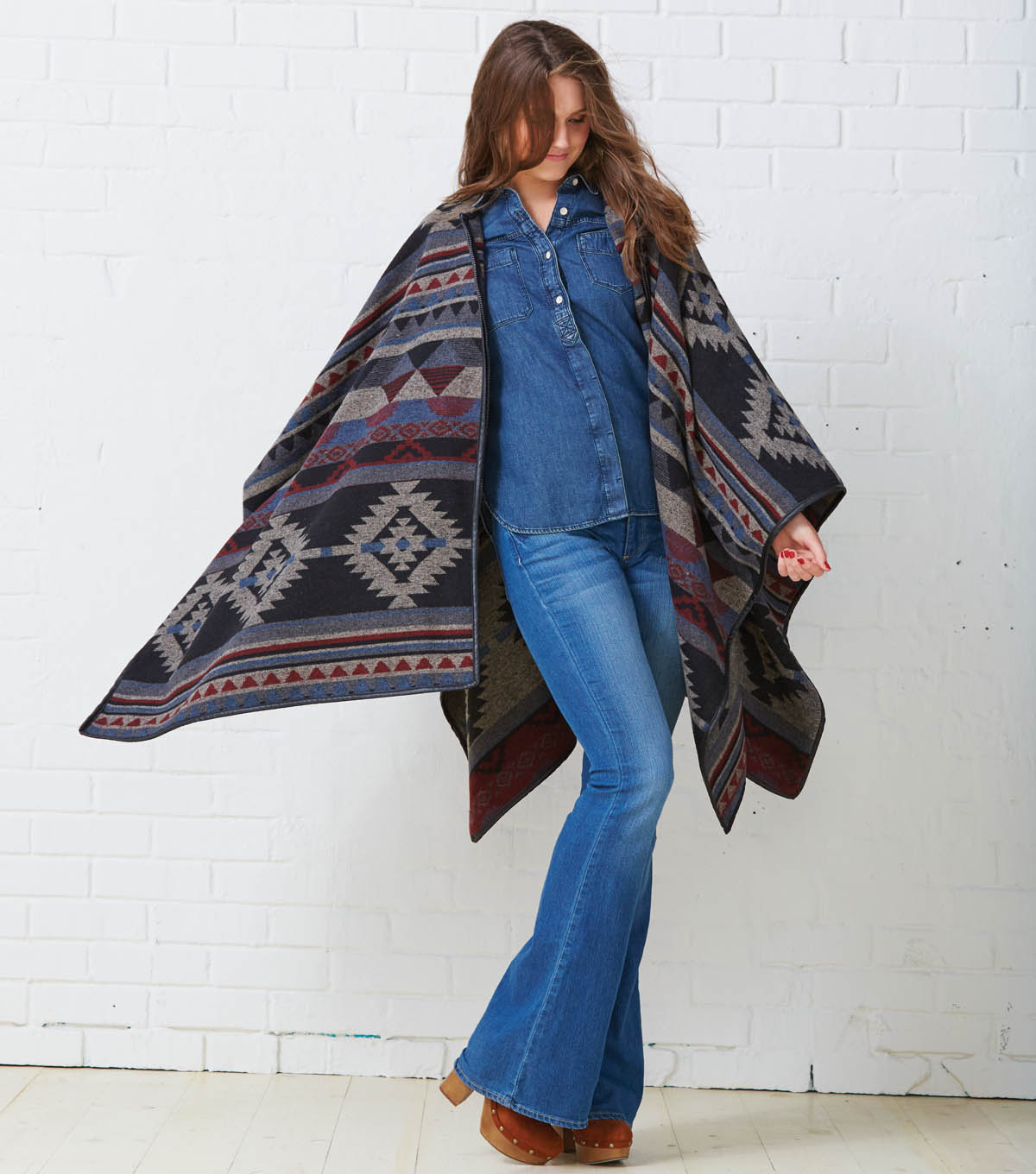 Poncho with Pleather Trim with Zipper