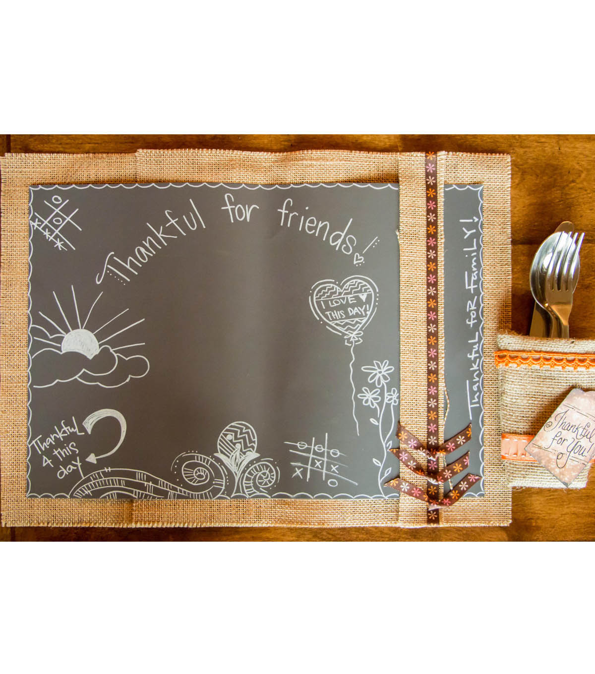 Burlap and Chalk Placemat