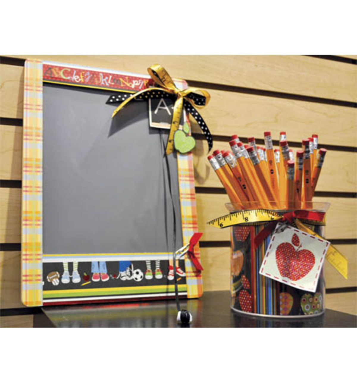Grade School Chalkboard and Pencil Cup Set