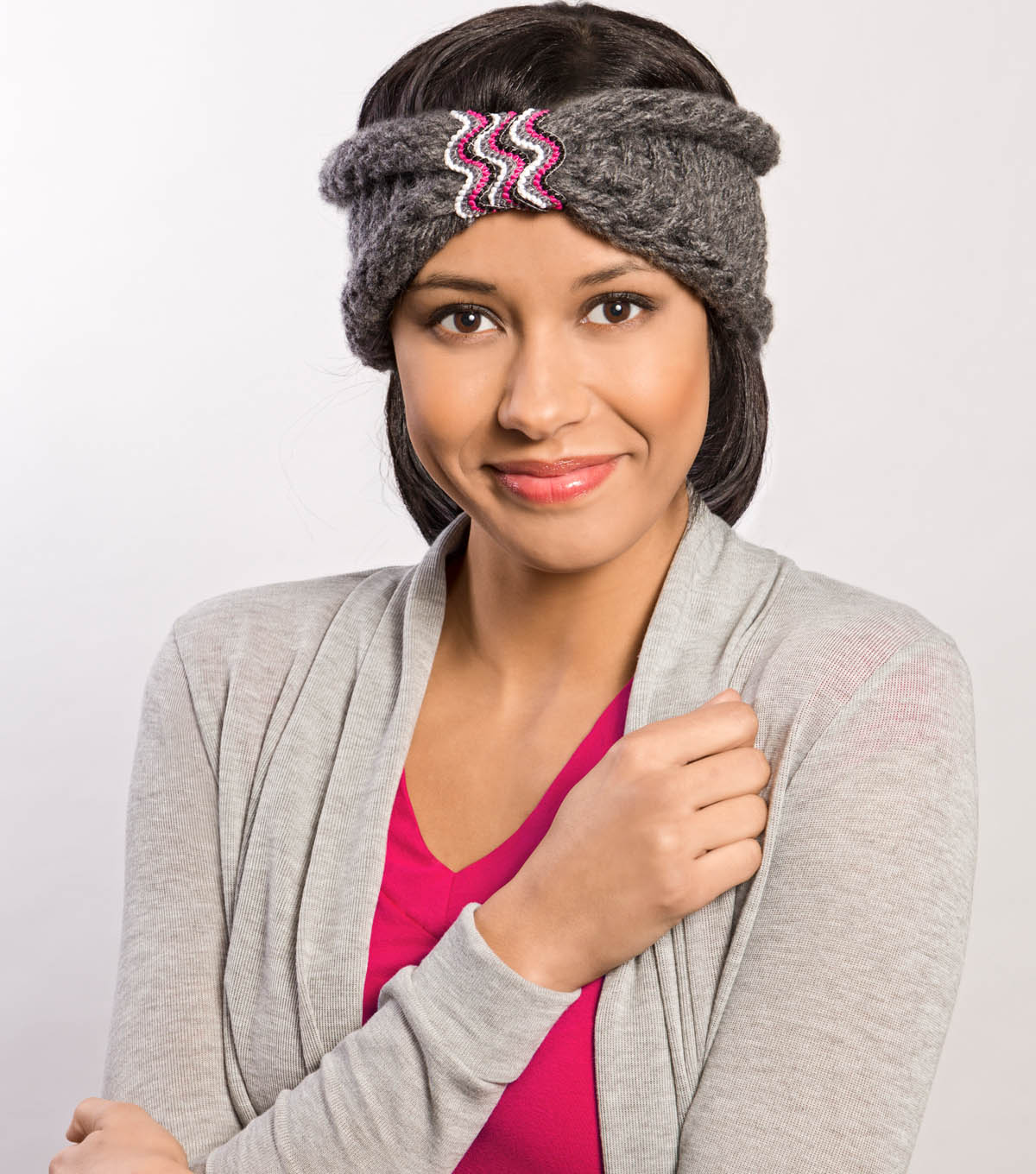 Loom Knitted Turban Cinched with Trim