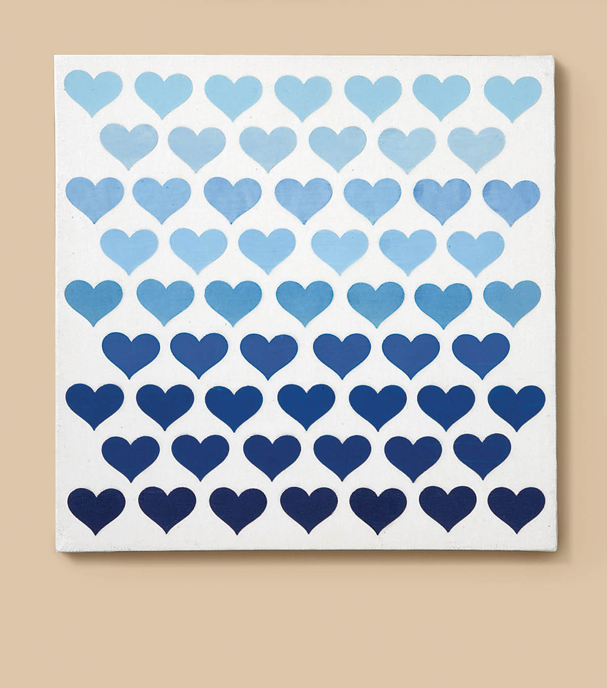 Canvas with Ombre Paper Hearts
