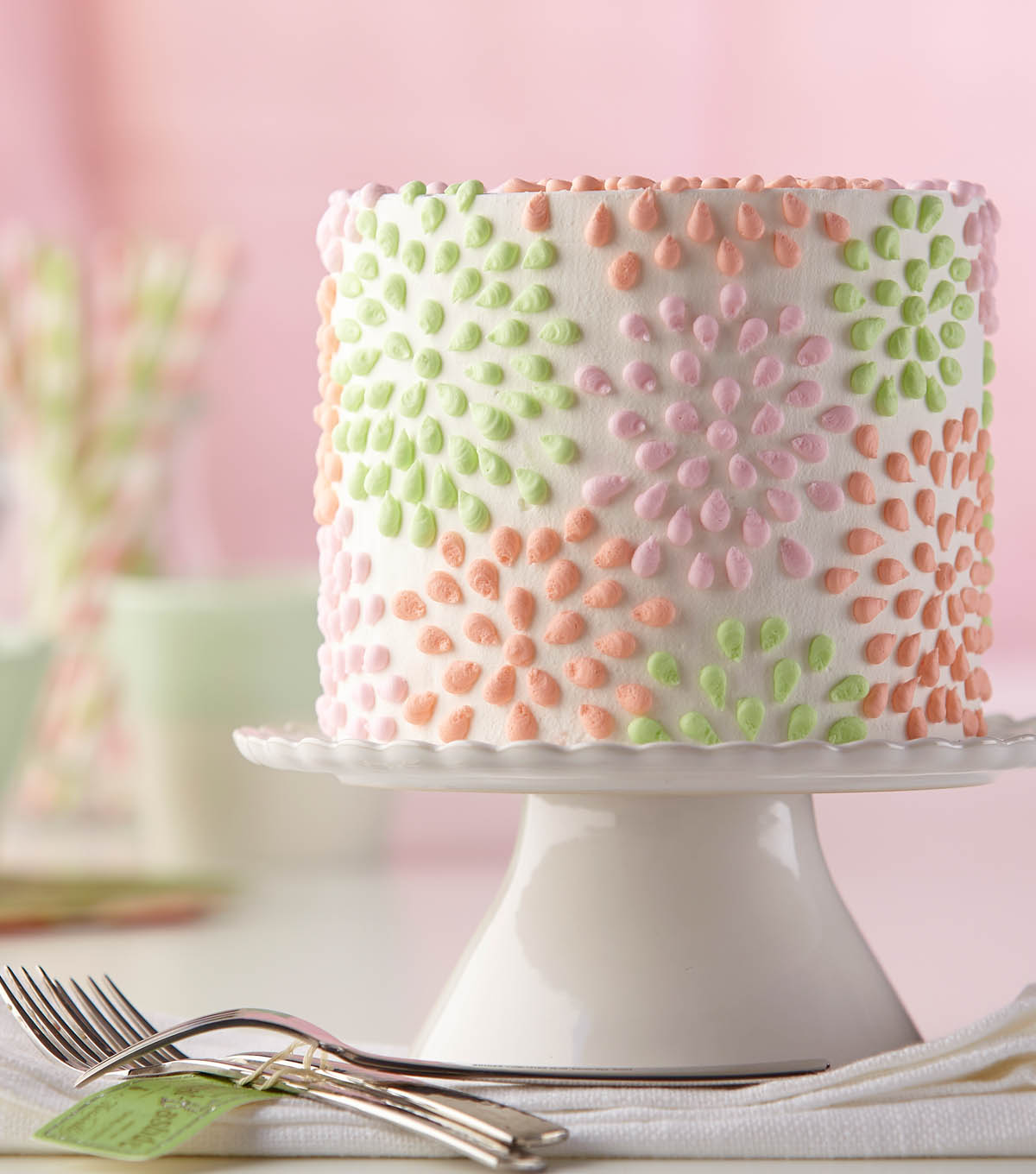 Polka Dotted Flower Cake