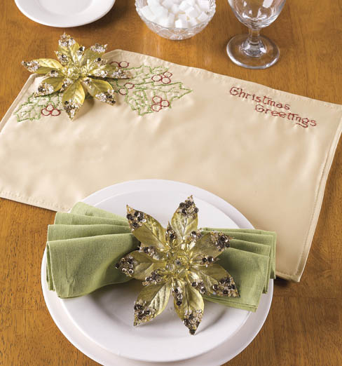 Embroidered Place Mat & Napkin ring