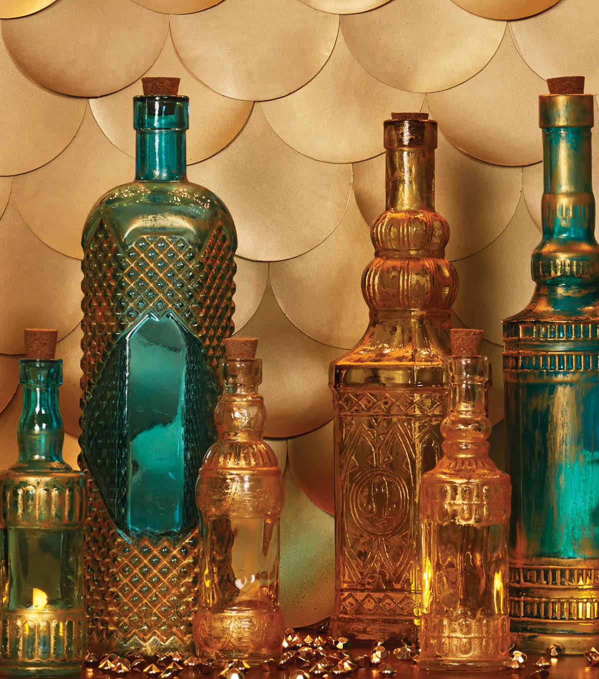 Gold Rubbed Glass Bottle