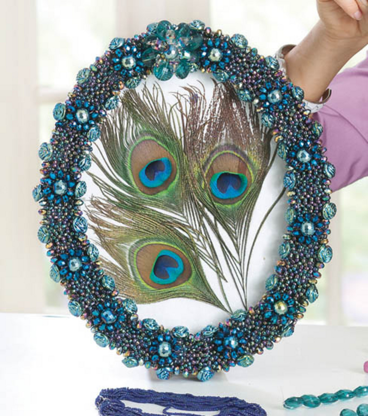 Beaded Peacock Frame
