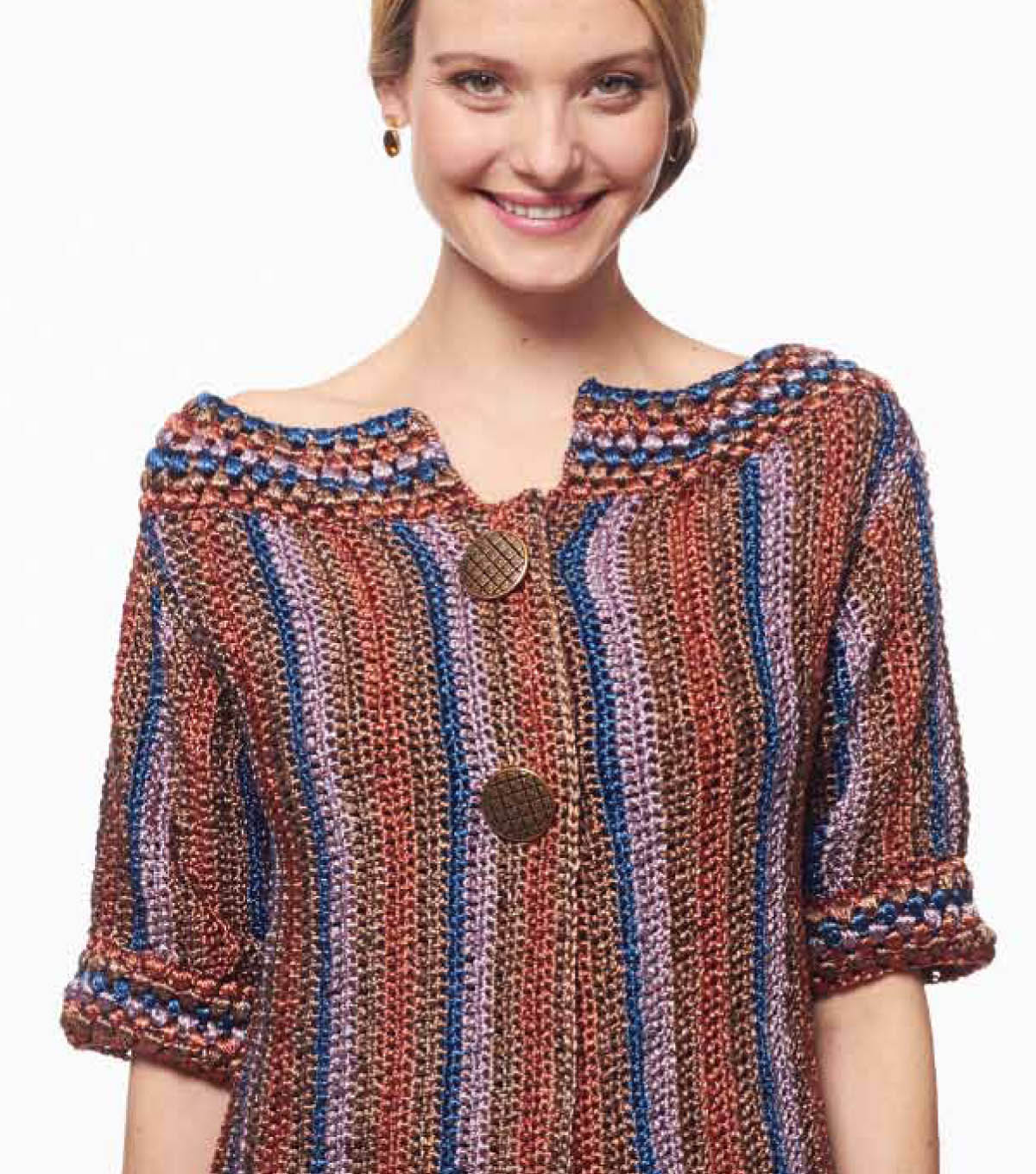 Metallic Crochet Funky Stripes Cardigan