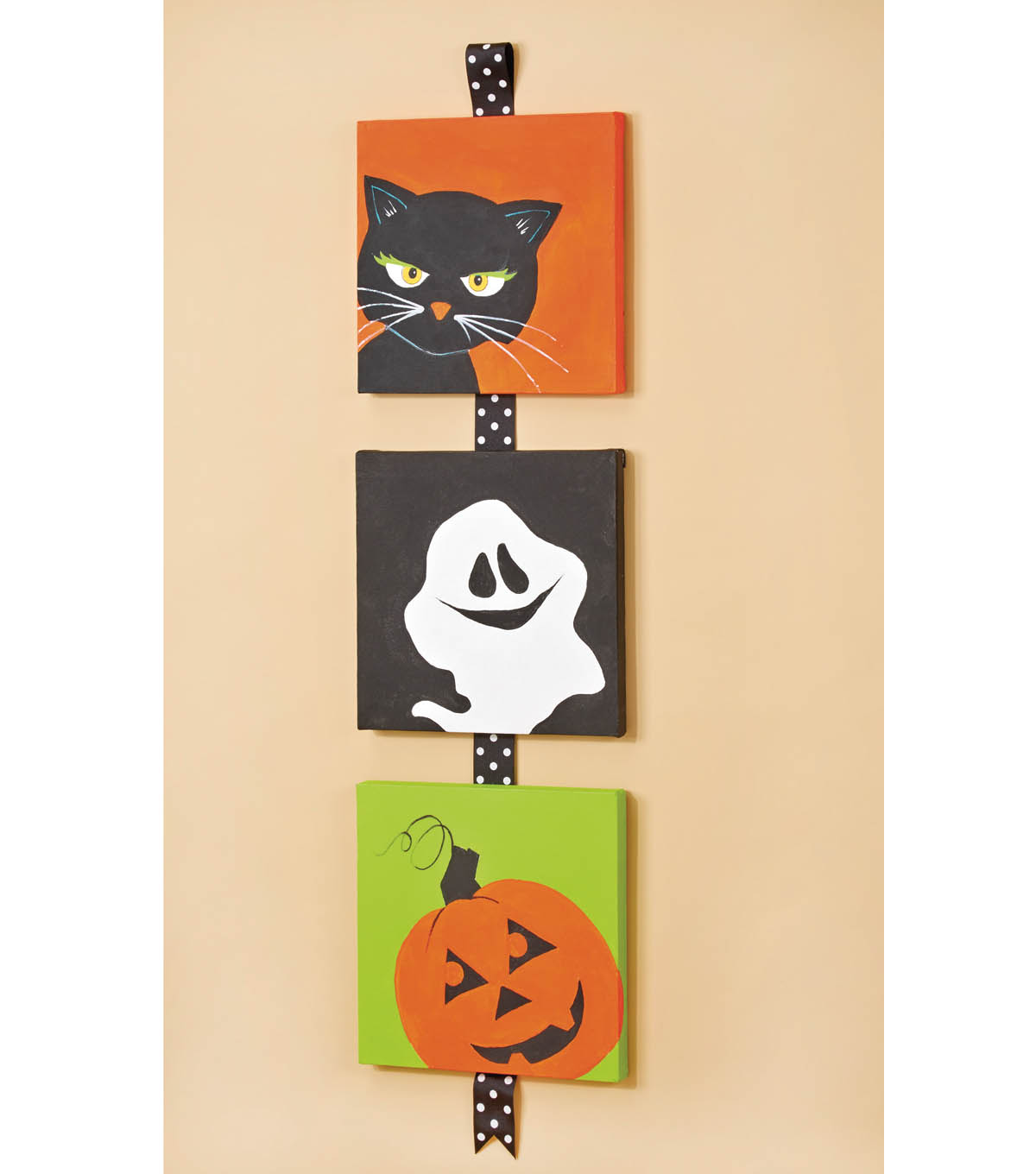 Cat Ghost Pumpkin Painted Canvas