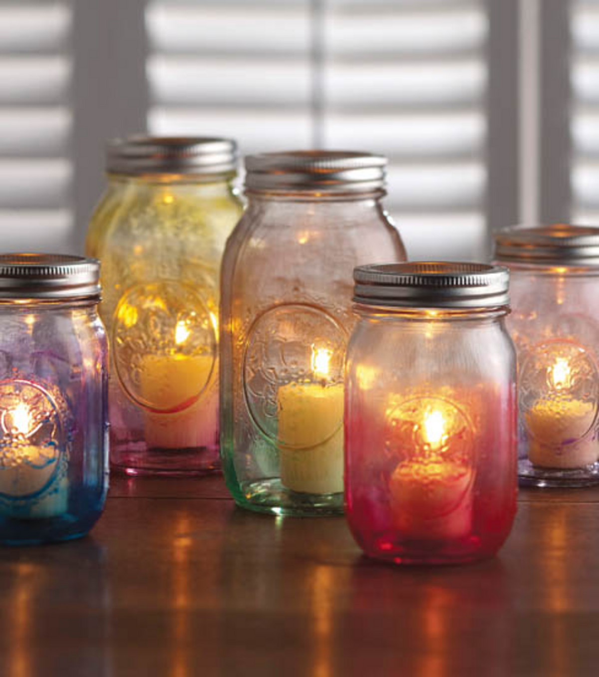Colored Mod Podge Lanterns