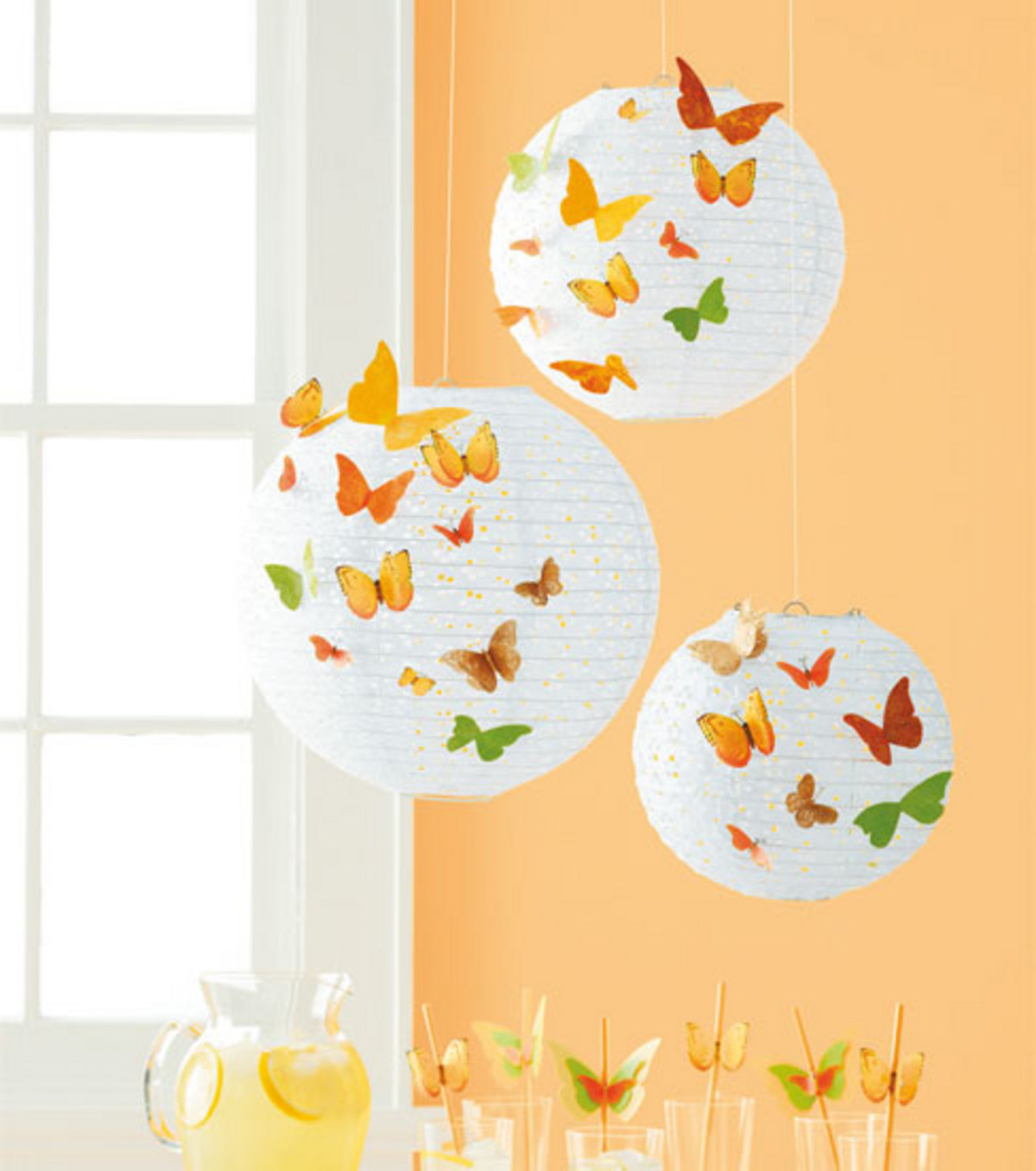 Eyelet Paper Lantern with Butterflies