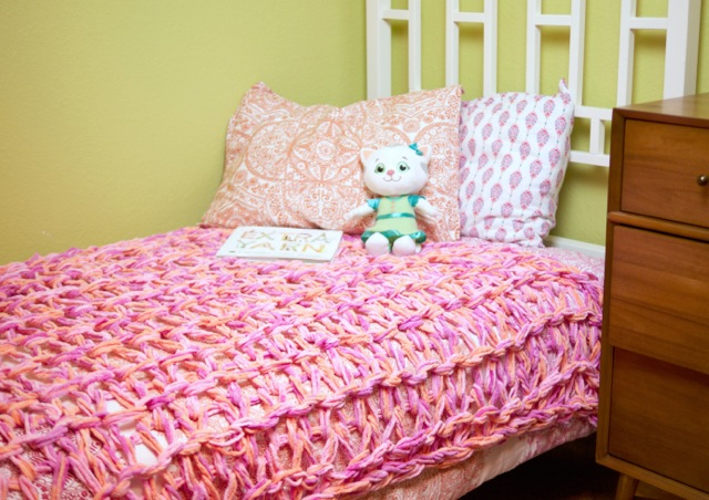 Loopy Arm Knit Coverlet