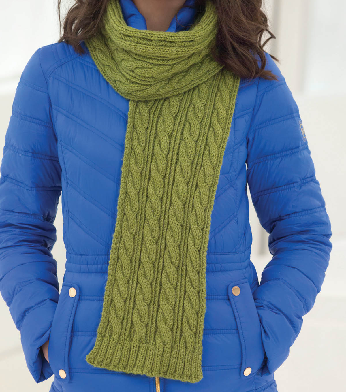 Green Cable Statement Scarf