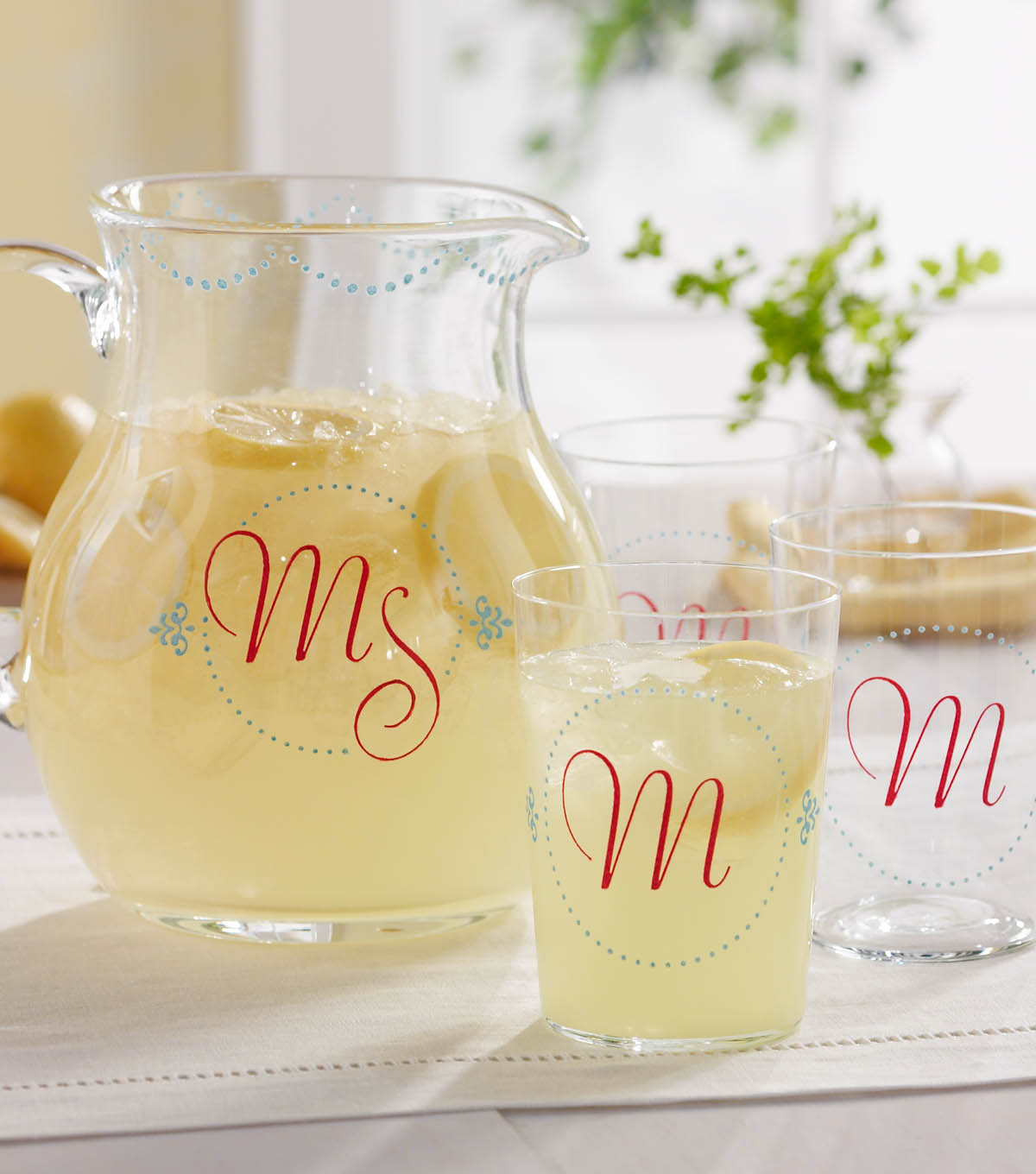 Elegant Monogramed Pitcher Set