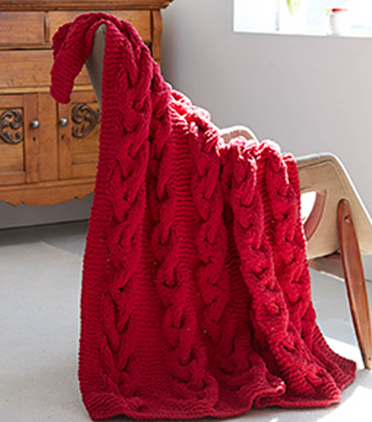 Cranberry Cable Blanket