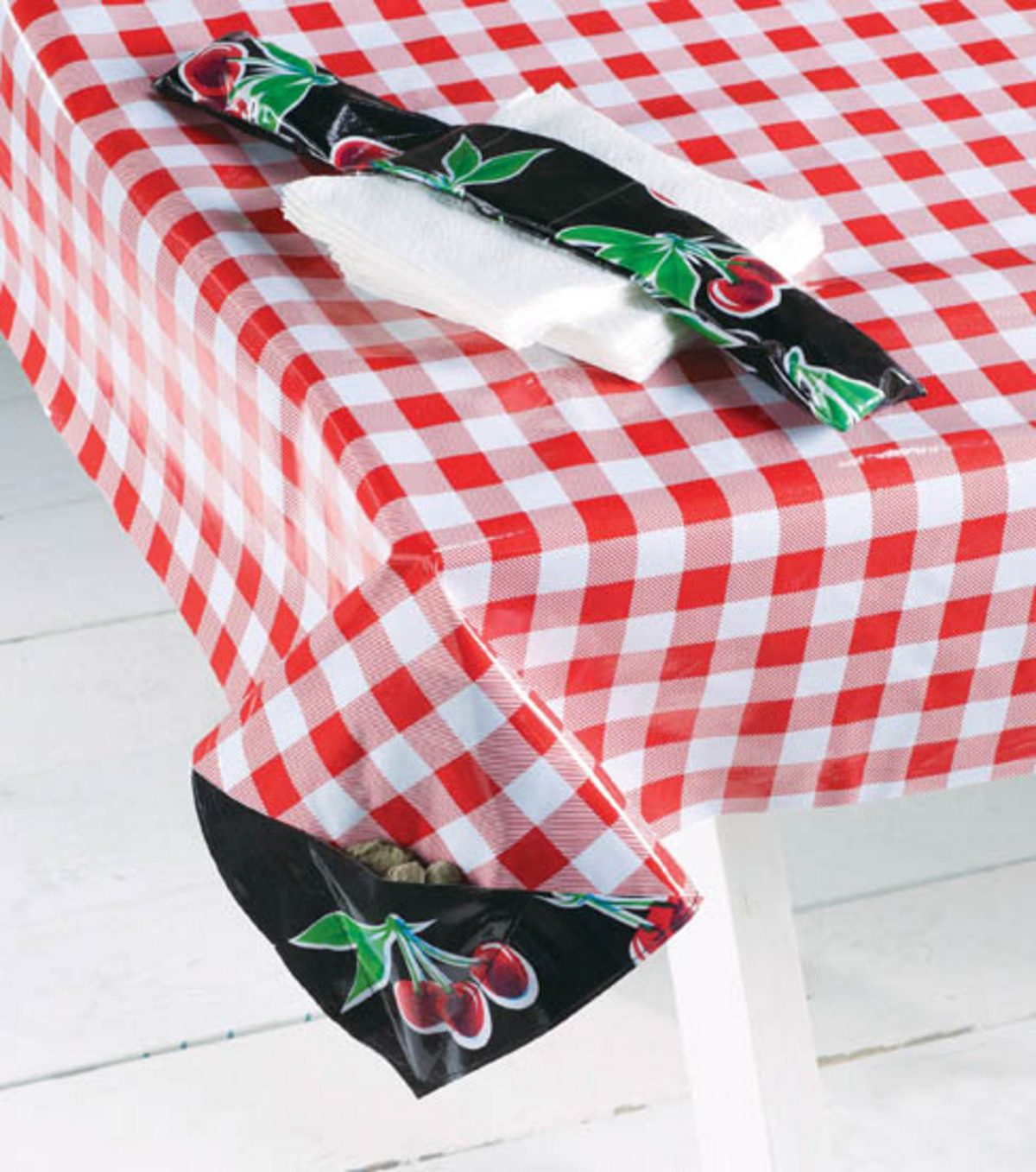 Oil Cloth Picnic Table Cloth and Napkin Weight