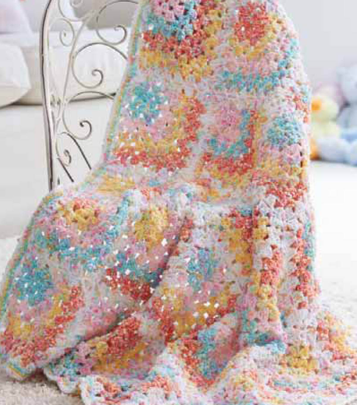 Mitered Corner Grannies Baby Blanket