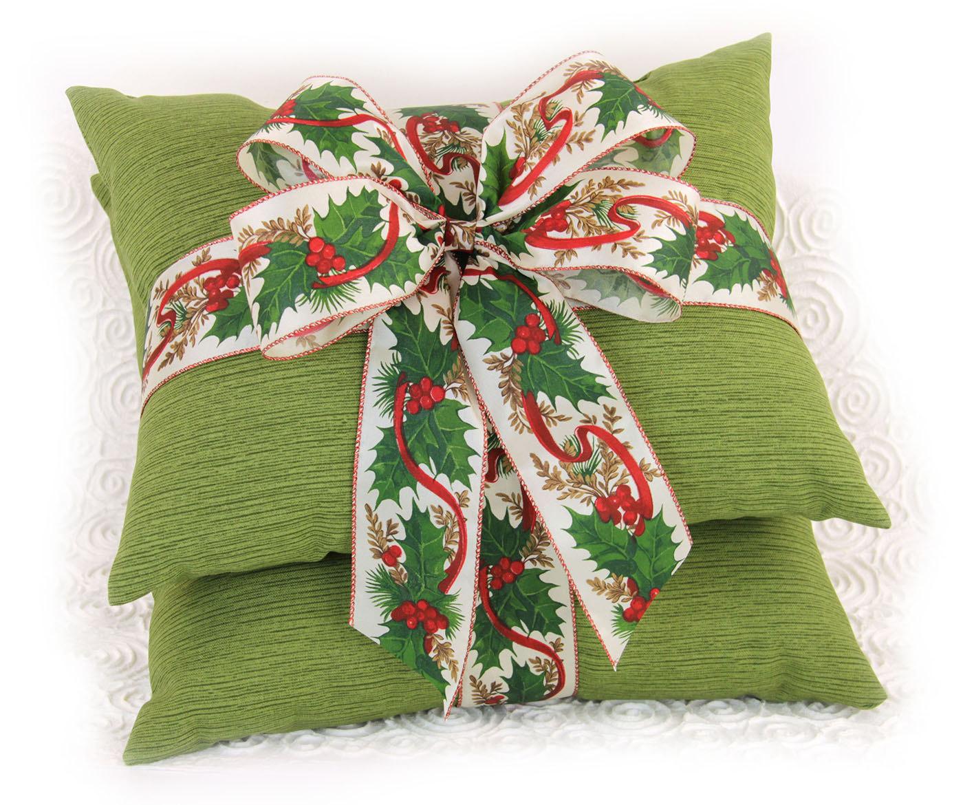 Holly Wreath Bow Pillow