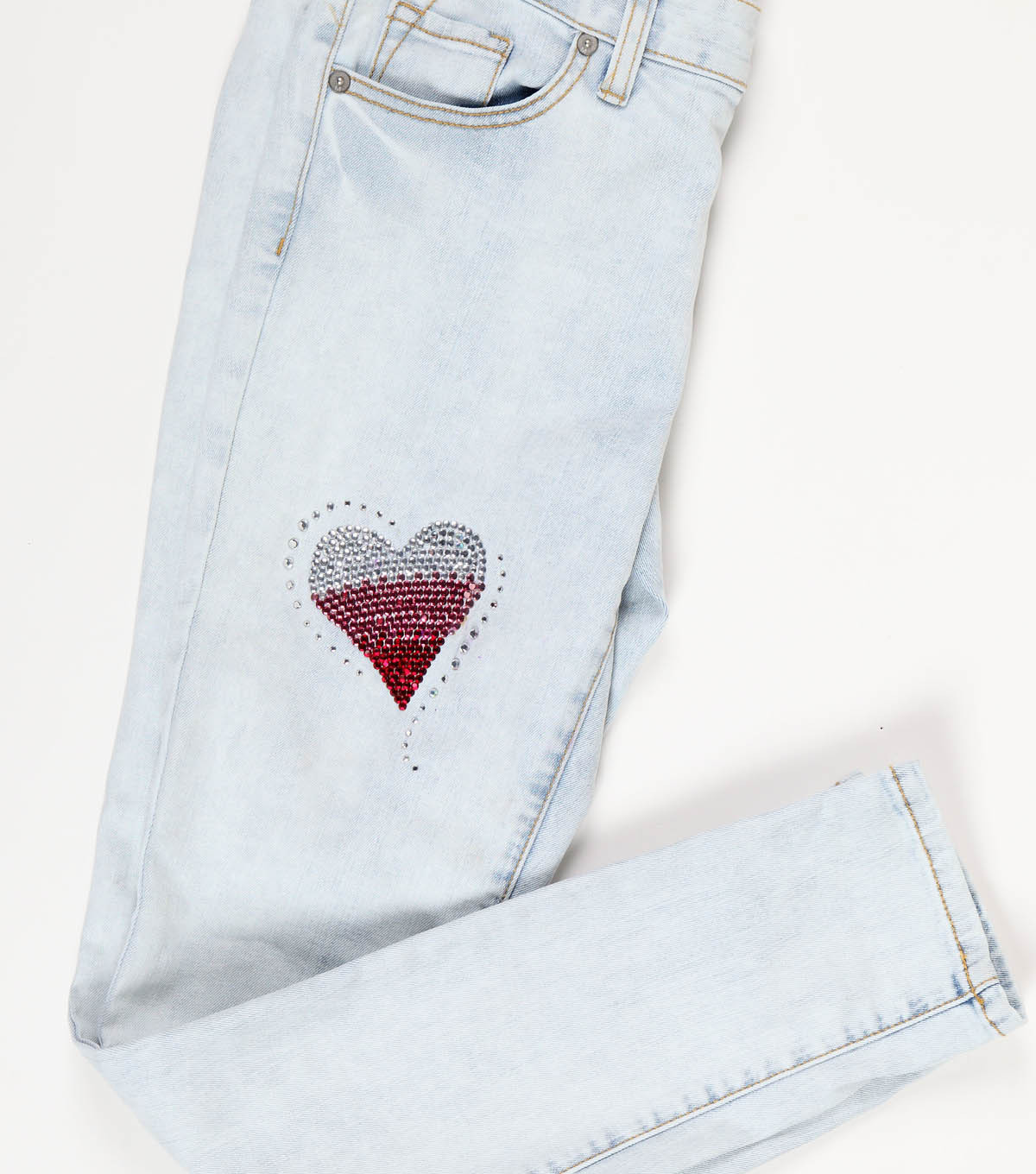 Sparkling Style Crystal Hearts Jeans