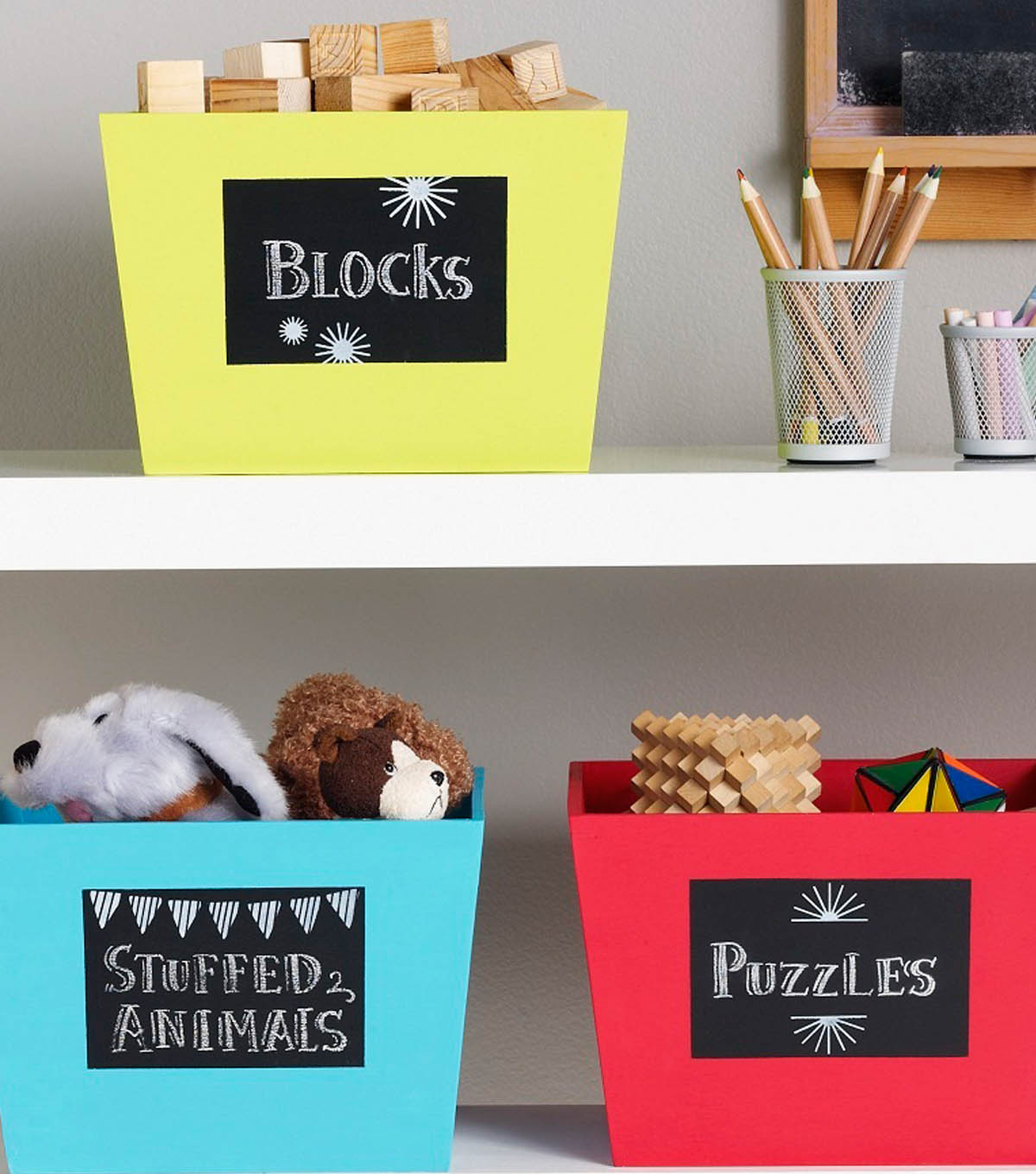 Idea Market Back to School Chalkboard Storage Bins