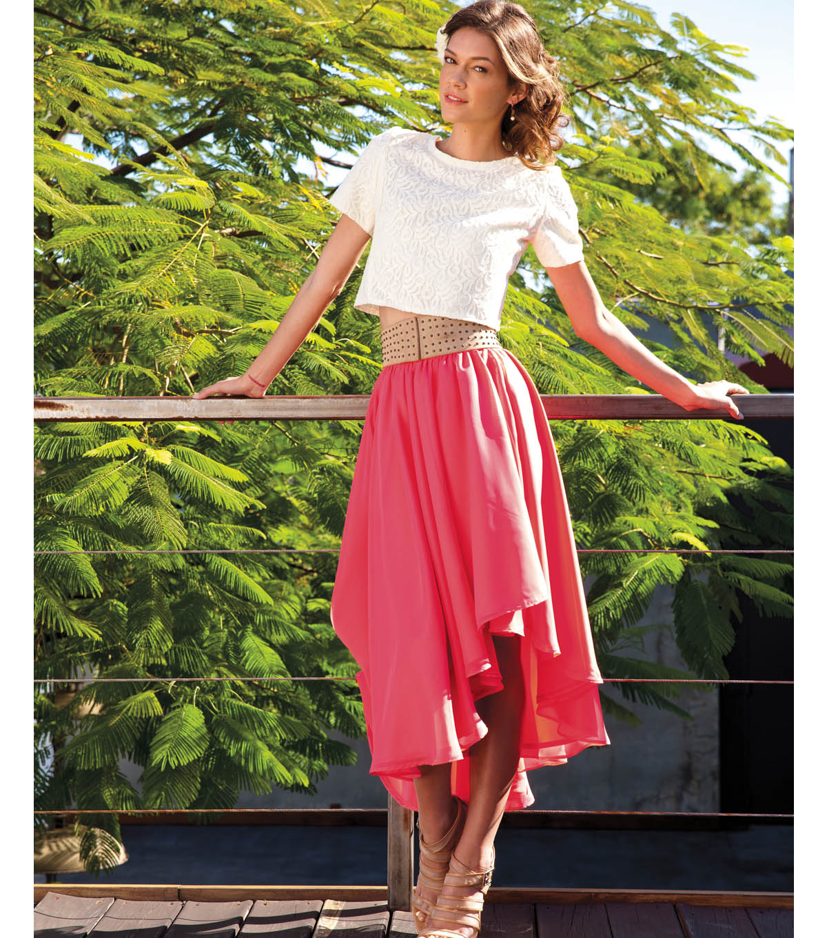 Lace Crop Top and Chiffon Wrap Skirt