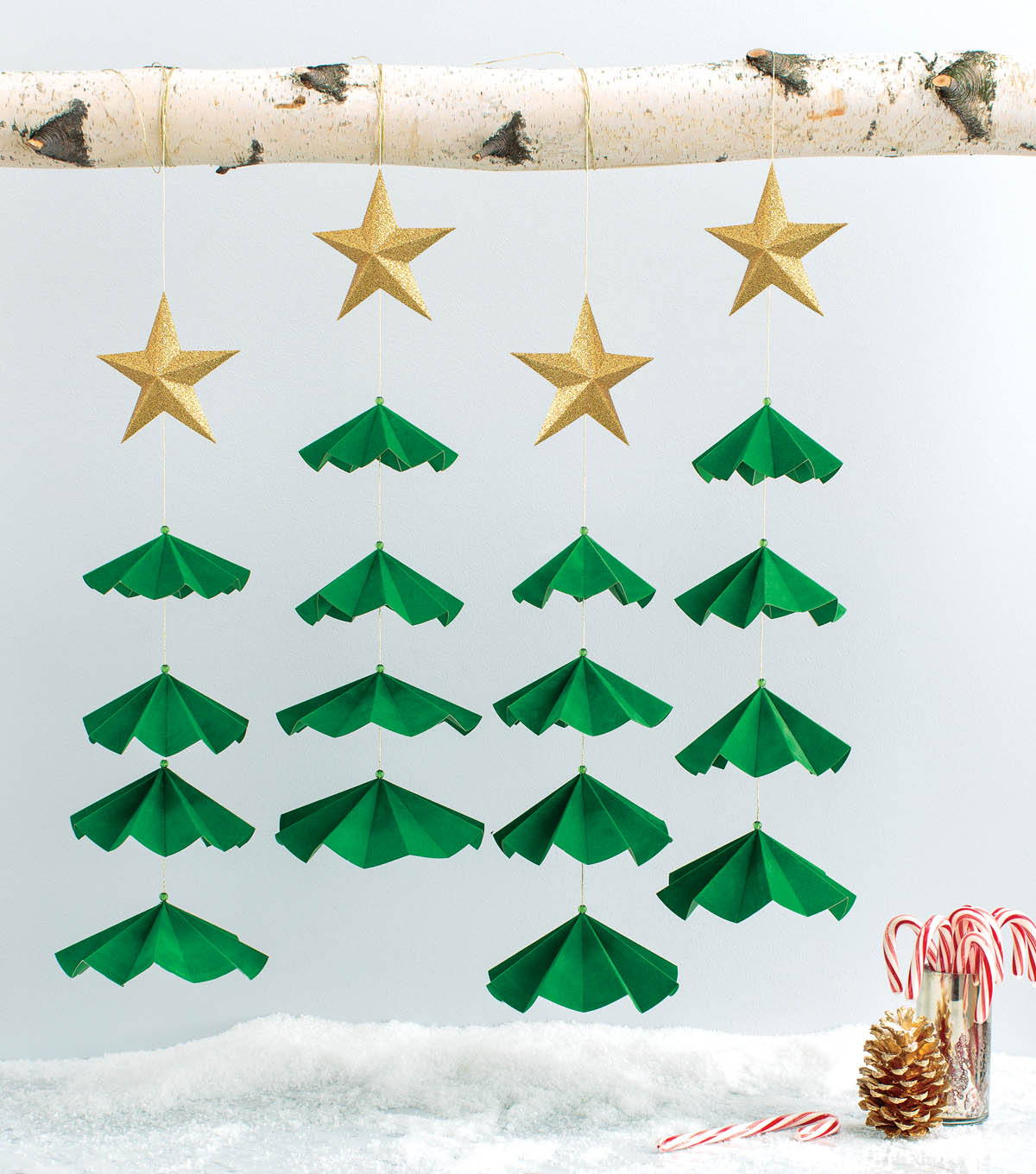 Glittered Stars and Trees Holiday Backdrop