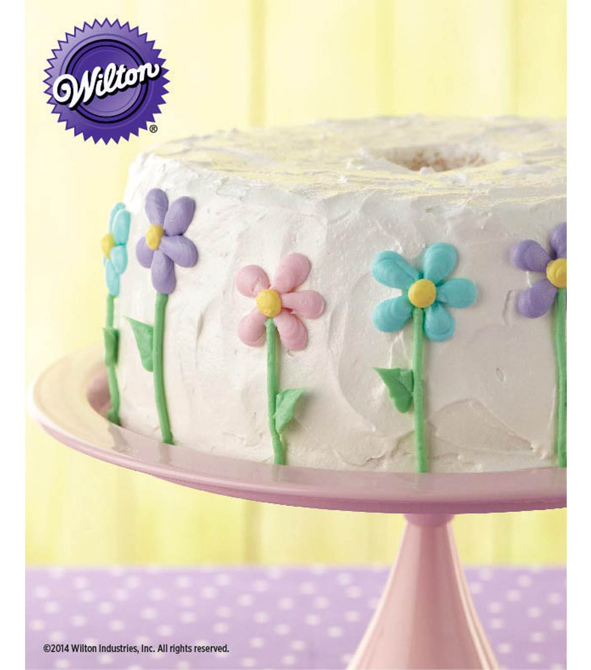 Floral Iced Angel Food Cake