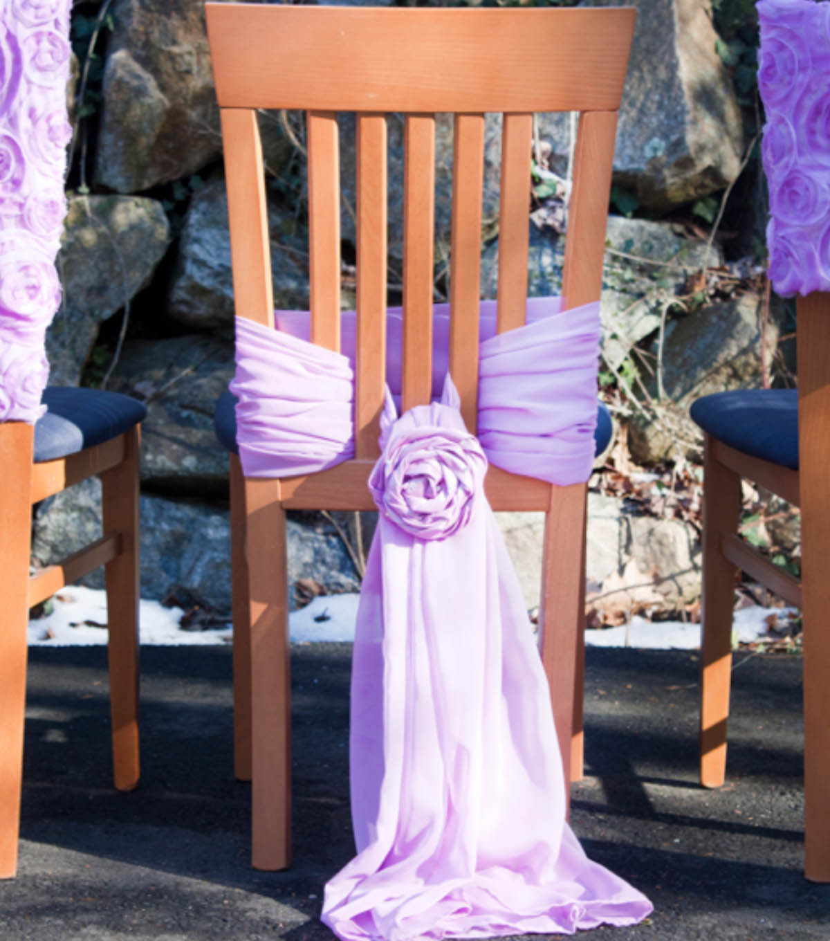 Chiffon Chair Tie with Rosettes
