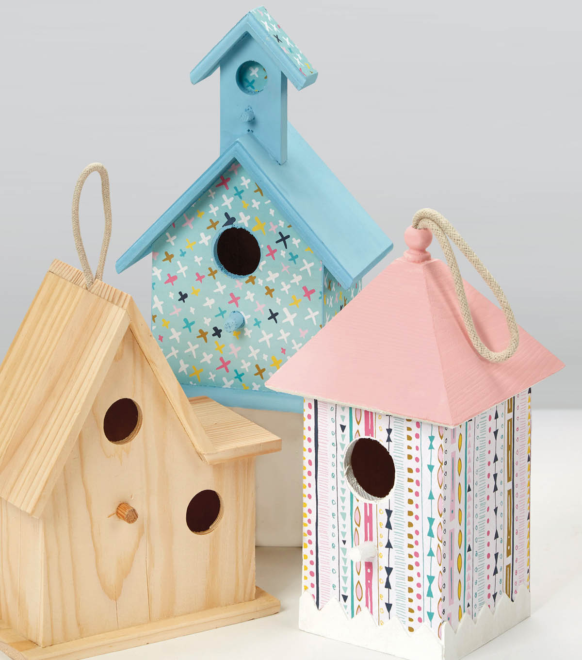 Paper Covered and Painted Bird Houses