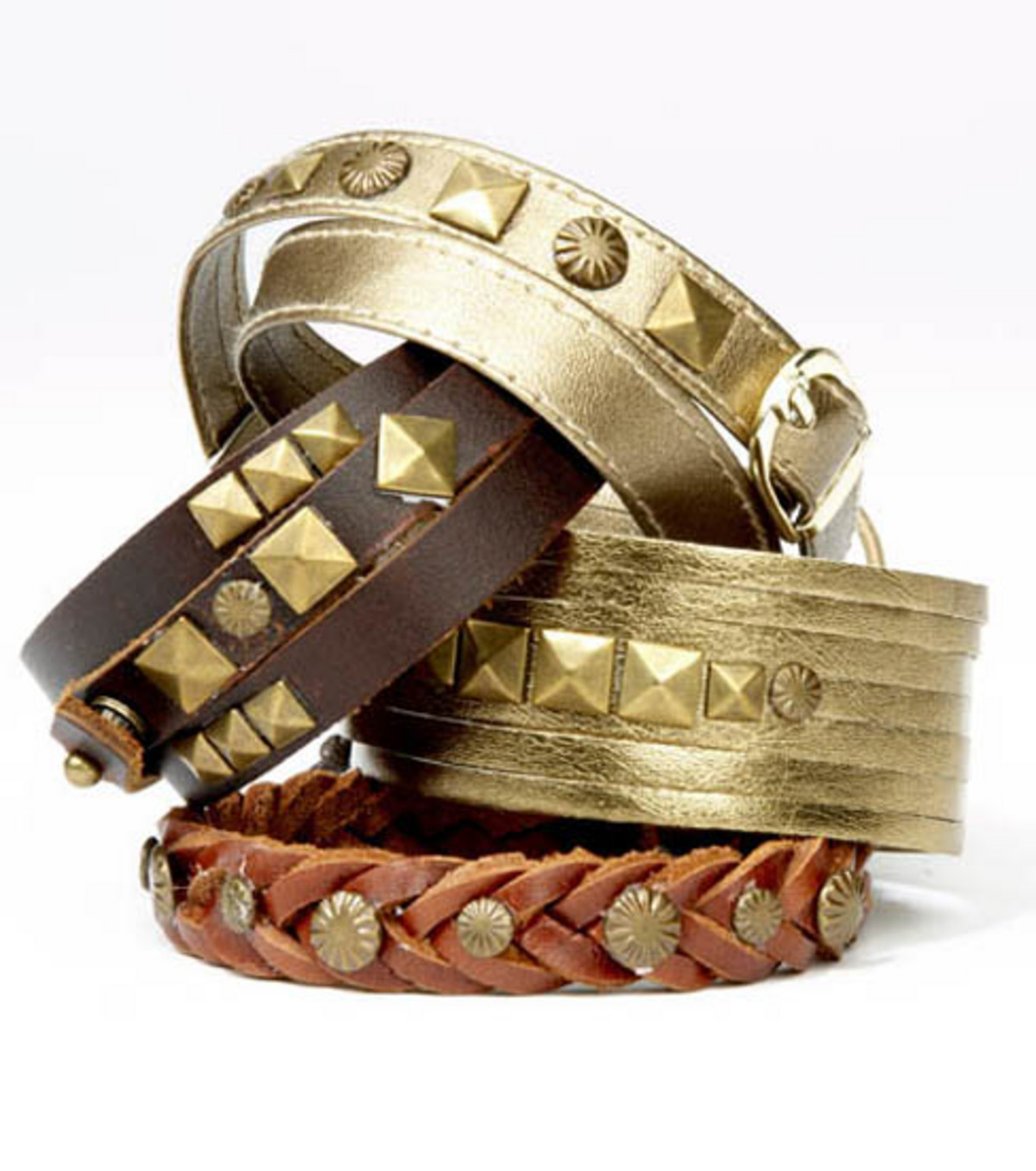 Wrap Around Leather Bracelet with Buckle