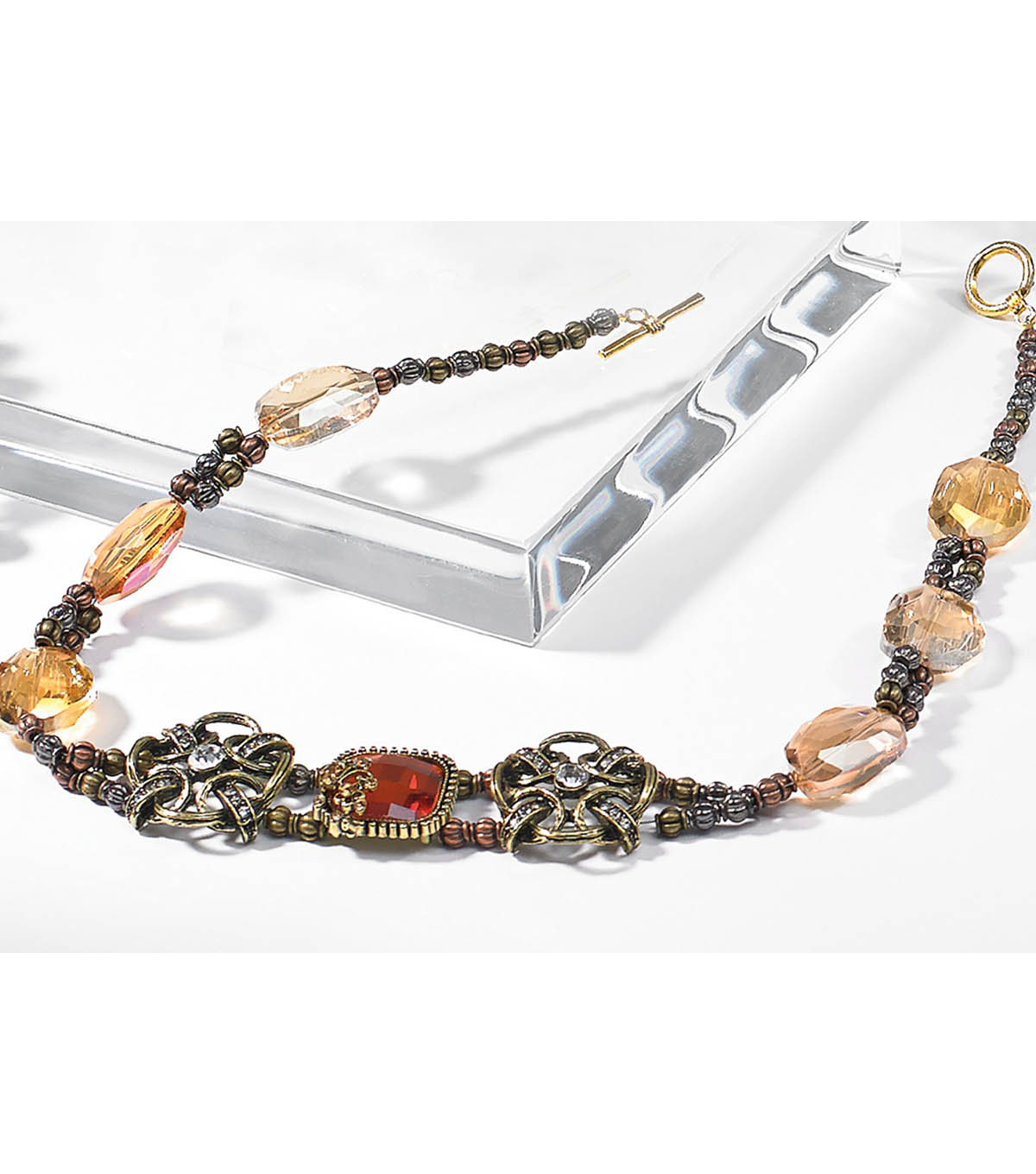 Amber Glass and Metal Slider Necklace