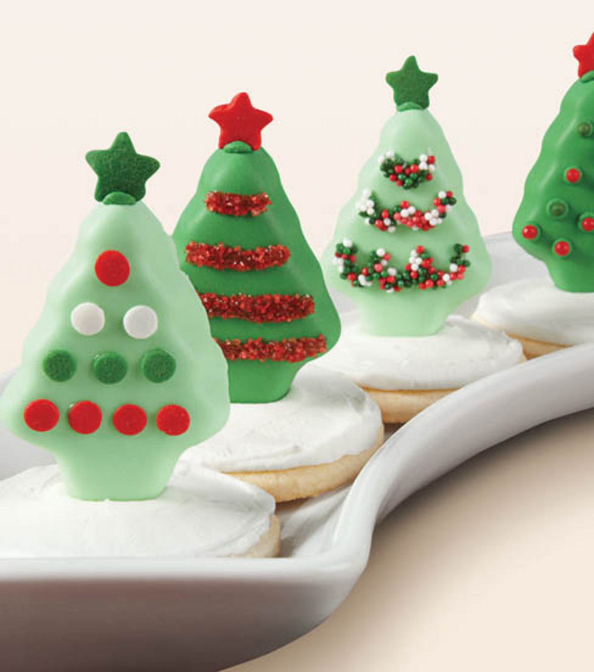 Field of Decorated Christmas Tree Cookies