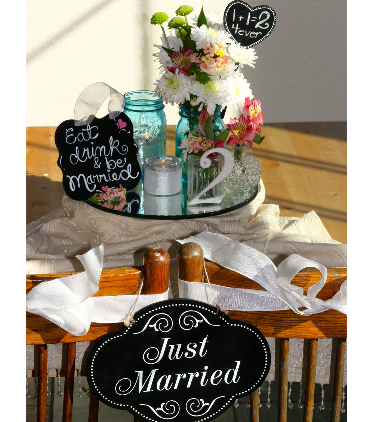 \u0022Just Married\u0022 Table Decorations